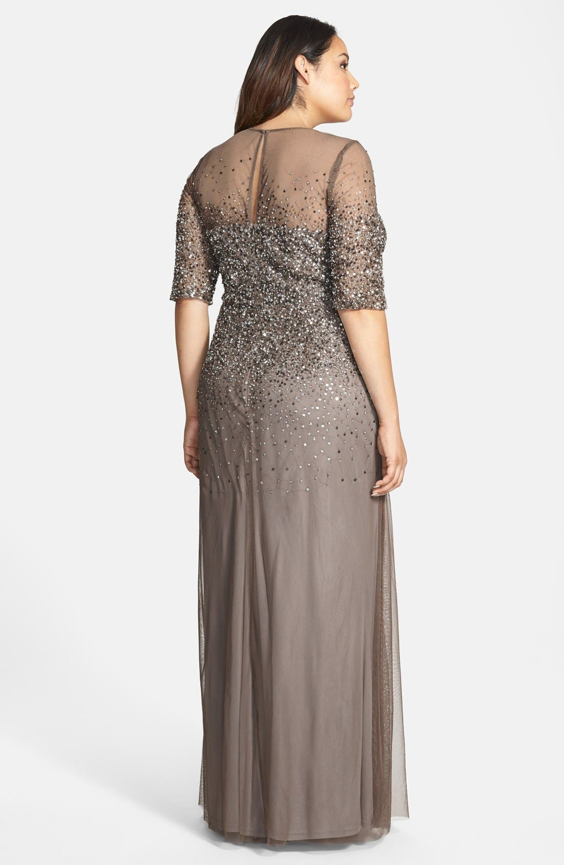 Alternate Image 2  - Adrianna Papell Beaded Illusion Gown (Plus Size)