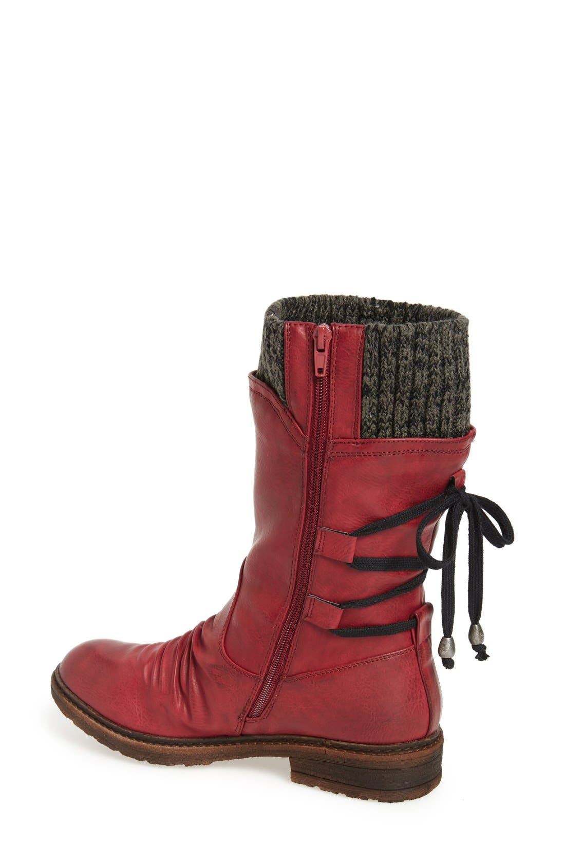 Dominika 73 Water Resistant Boot,                             Alternate thumbnail 2, color,                             Burgundy/ Black