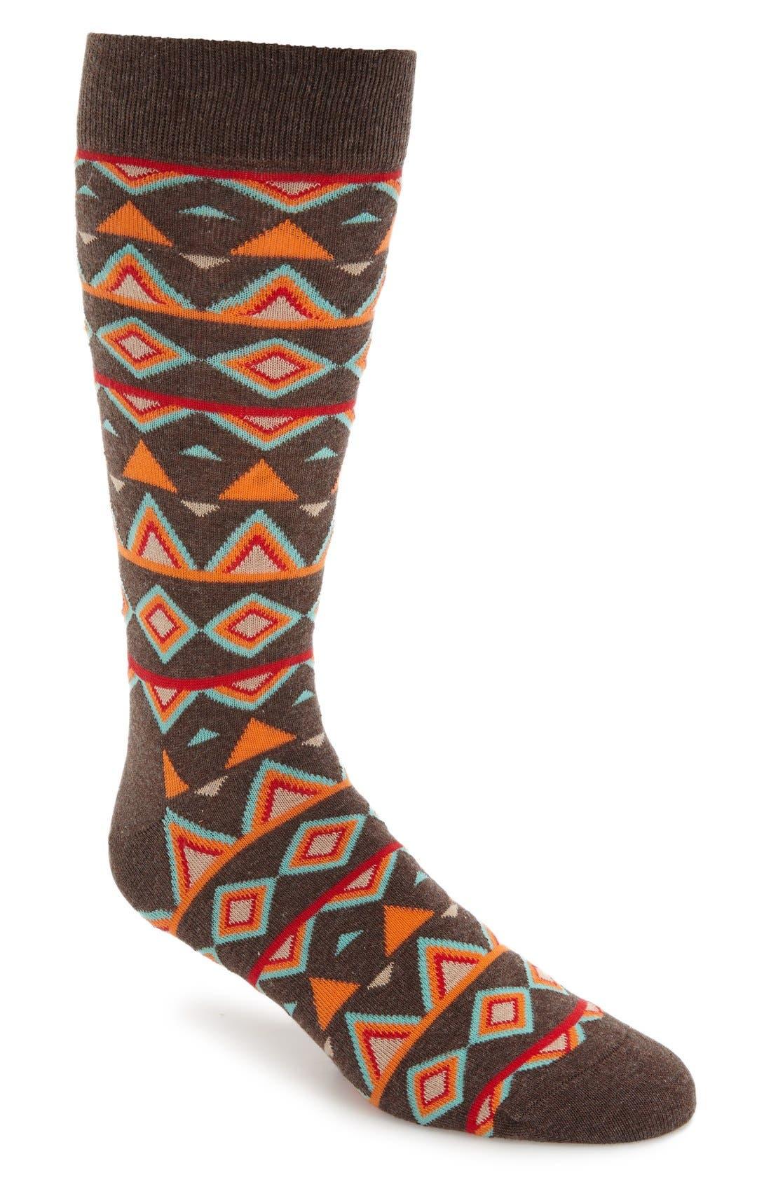 Temple Cotton Blend Socks,                         Main,                         color, Black/ Orange