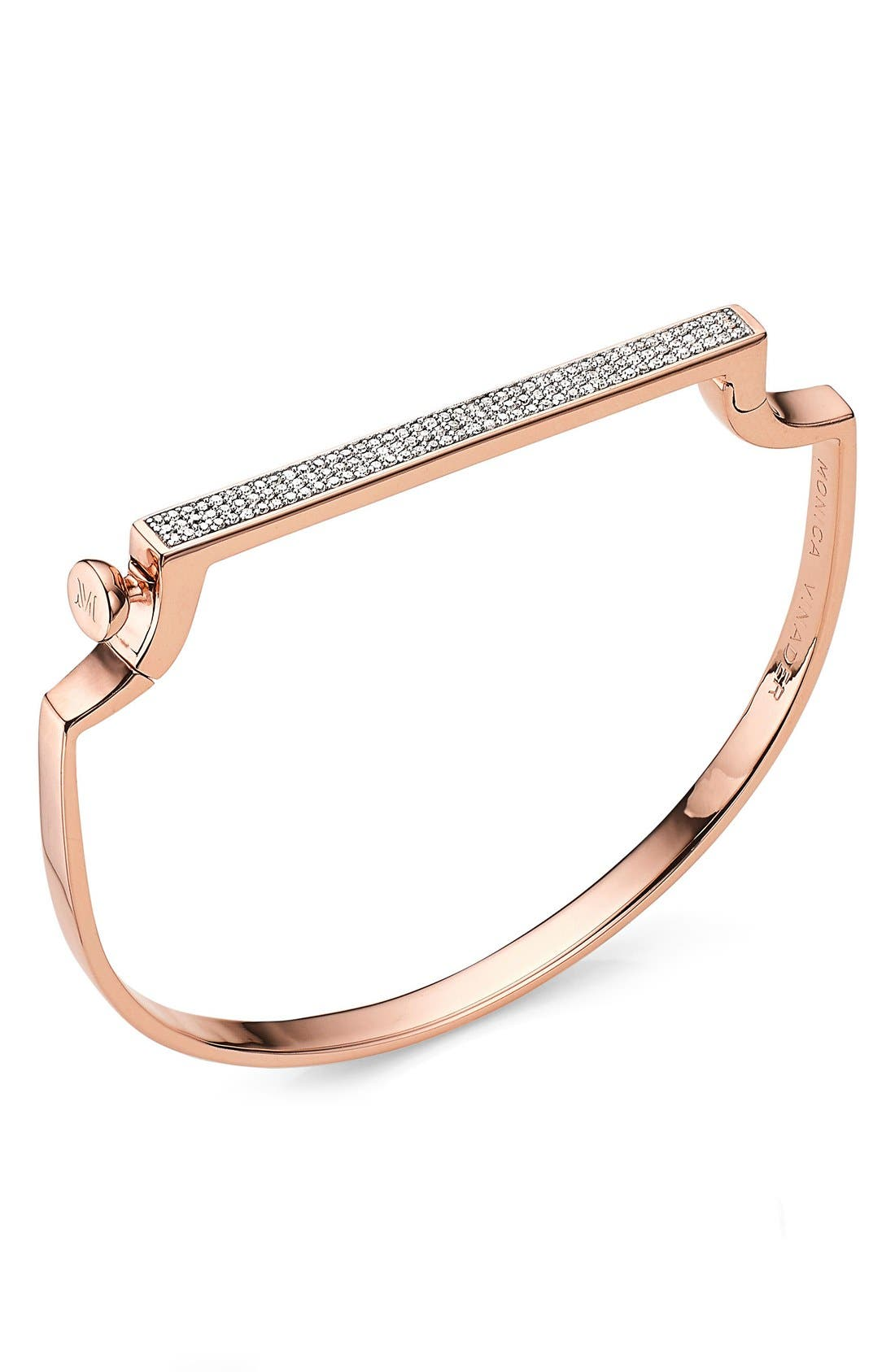 Signature Thin Diamond Bangle,                             Main thumbnail 1, color,                             Rose Gold/ Diamond