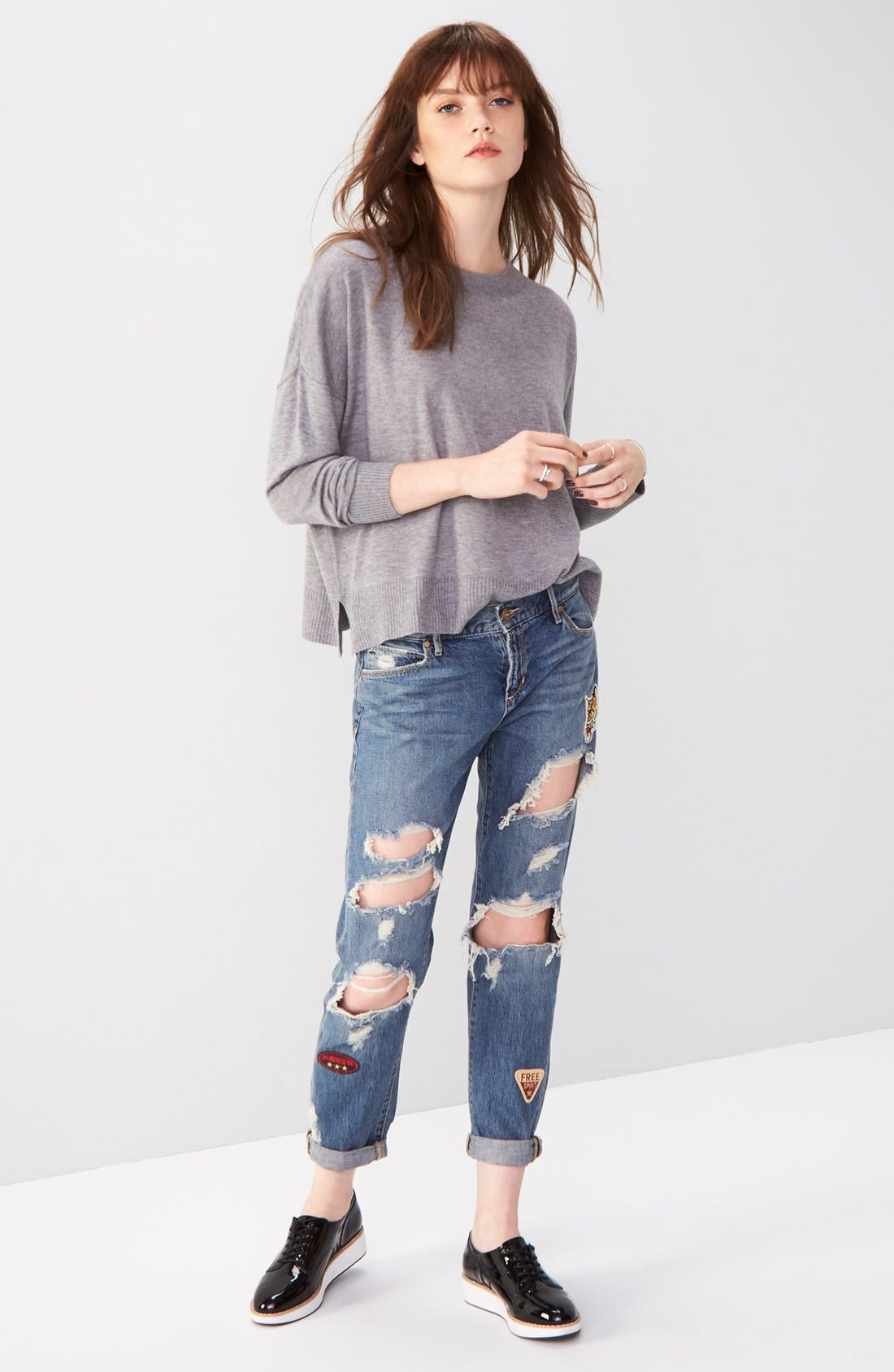 Alternate Image 2  - Articles of Society Janis Destroyed Boyfriend Jeans with Patches