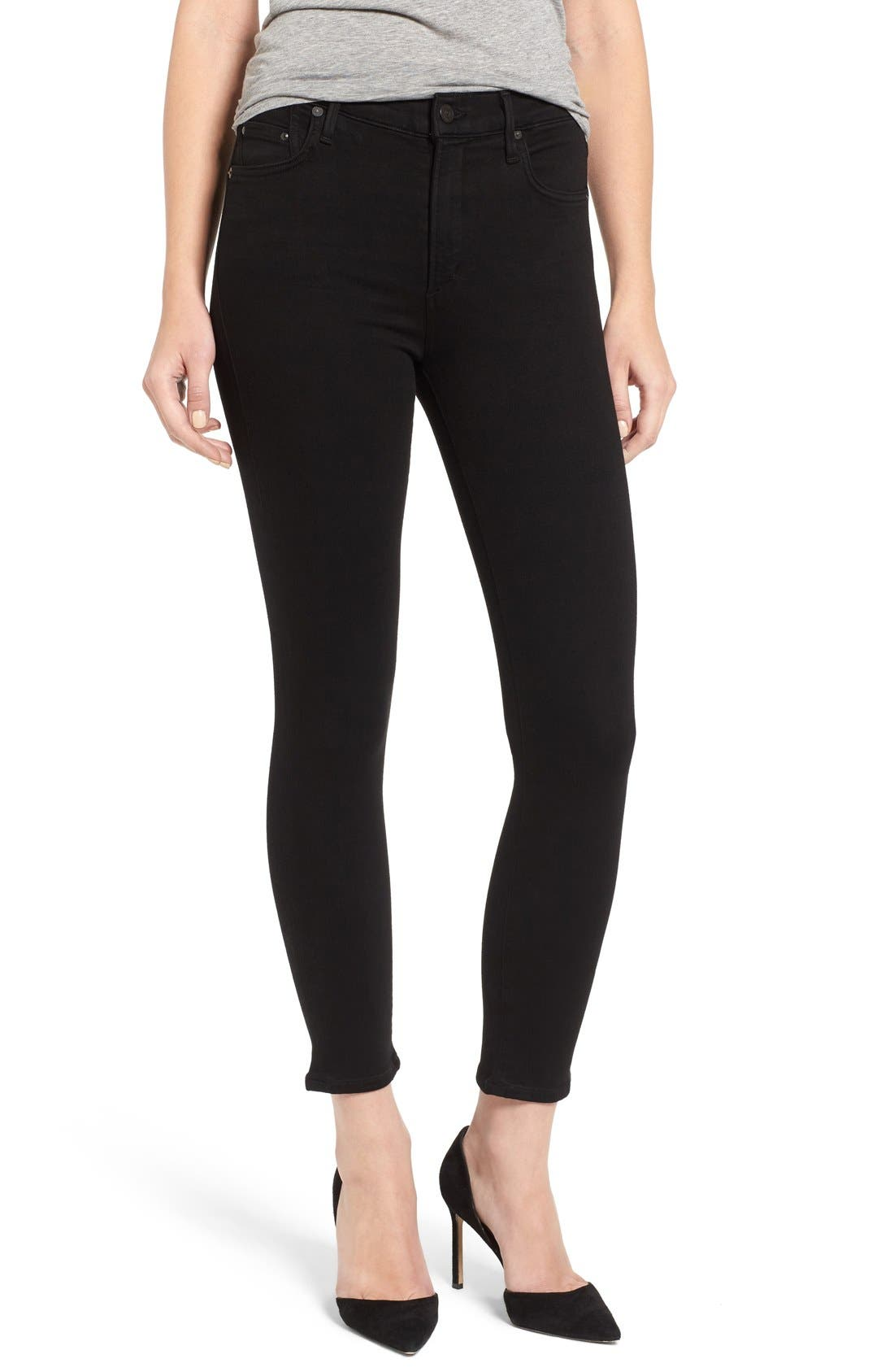Rocket High Rise Crop Skinny Jeans,                             Main thumbnail 1, color,                             All Black