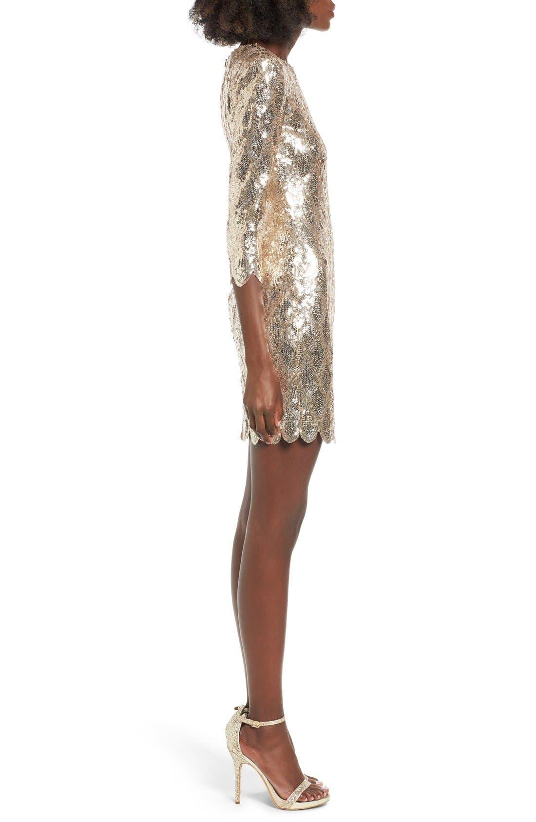 Alternate Image 3  - TFNC Paris Scallop Hem Sequin Dress