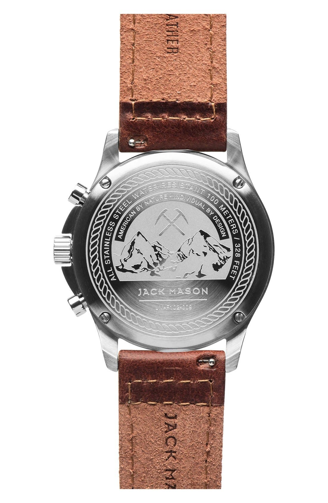 Alternate Image 2  - Jack Mason Field Chronograph Leather Strap Watch, 42mm