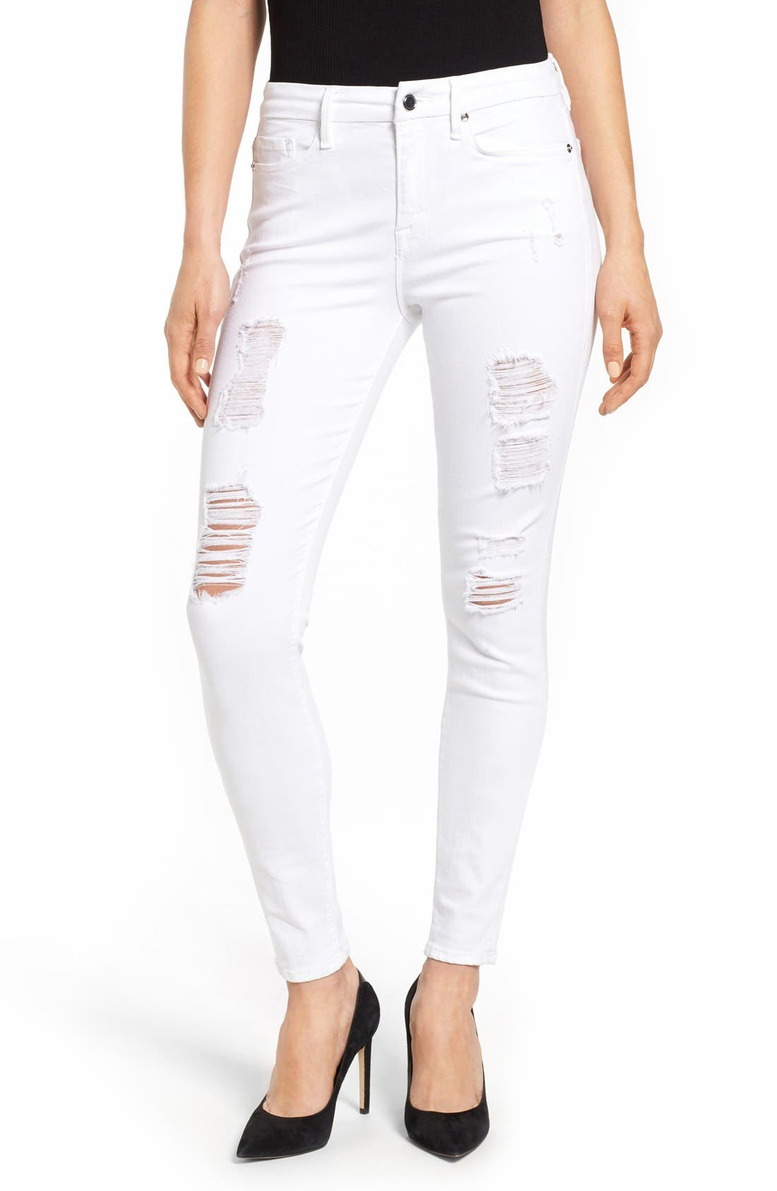 Good American Good Legs High Rise Ripped Skinny Jeans (White 002) (Extended Sizes)
