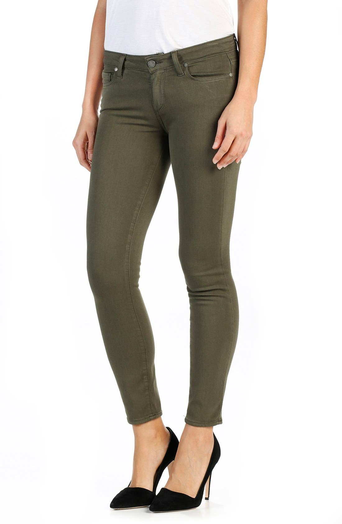 Alternate Image 1 Selected - PAIGE Transcend Verdugo Ankle Ultra Skinny Jeans (Olive Leaf)
