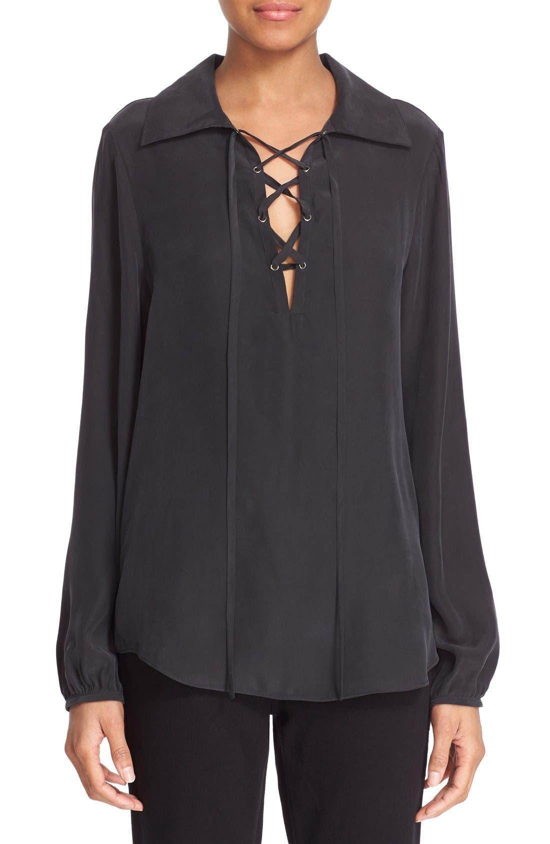 Lace-Up Silk Blouse,                         Main,                         color, Noir