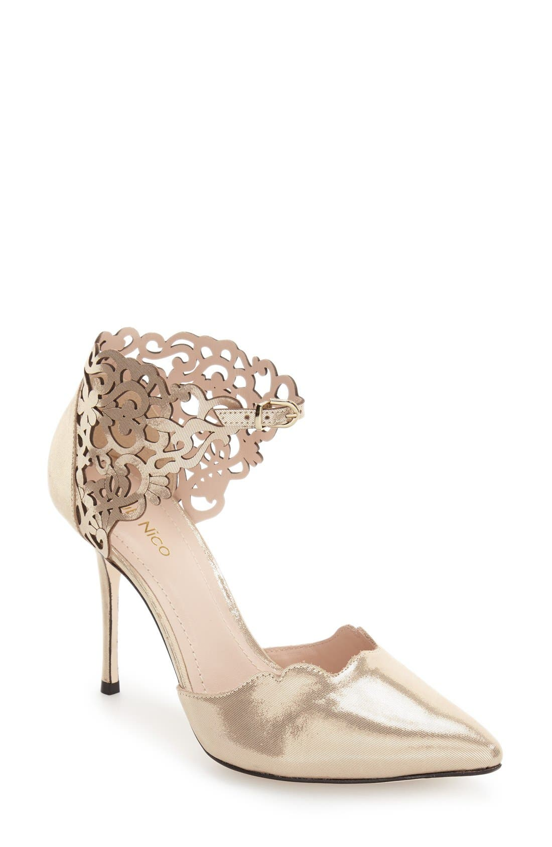 Roxanne Pump,                         Main,                         color, Champagne Leather
