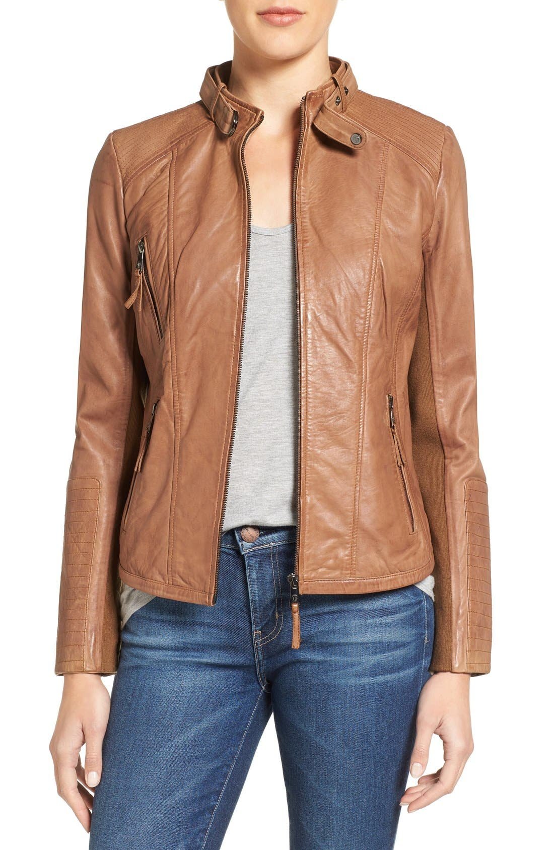 Alternate Image 1 Selected - Bernardo Zip Front Leather Biker Jacket (Regular & Petite)