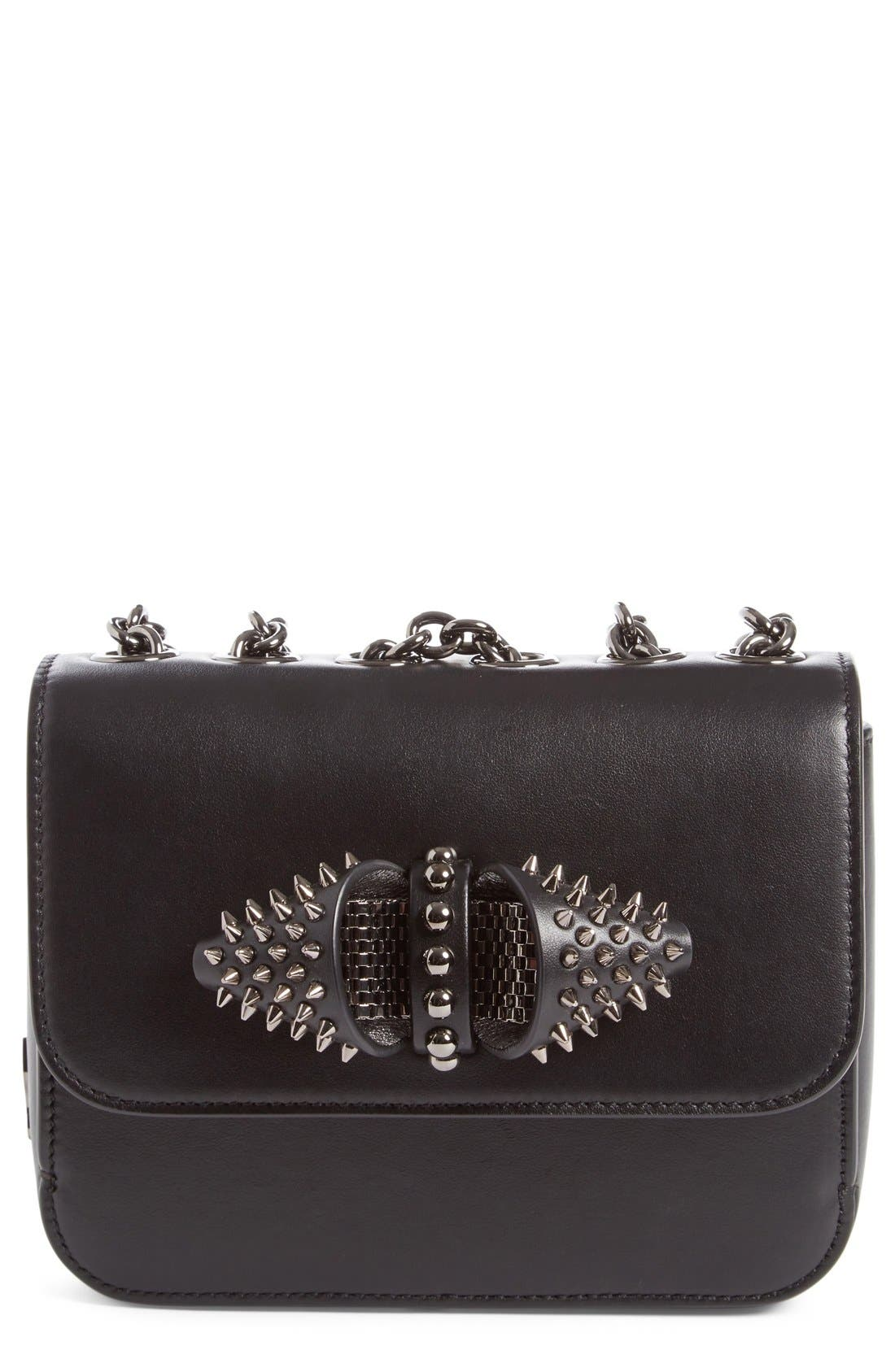 CHRISTIAN LOUBOUTIN Small Sweet Charity Spiked Calfskin Shoulder/Crossbody Bag