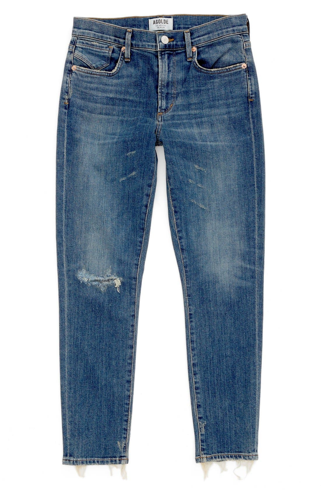 Alternate Image 1 Selected - AGOLDE Sophie Crop High Rise Skinny Jeans (Santa Fe) (Women)