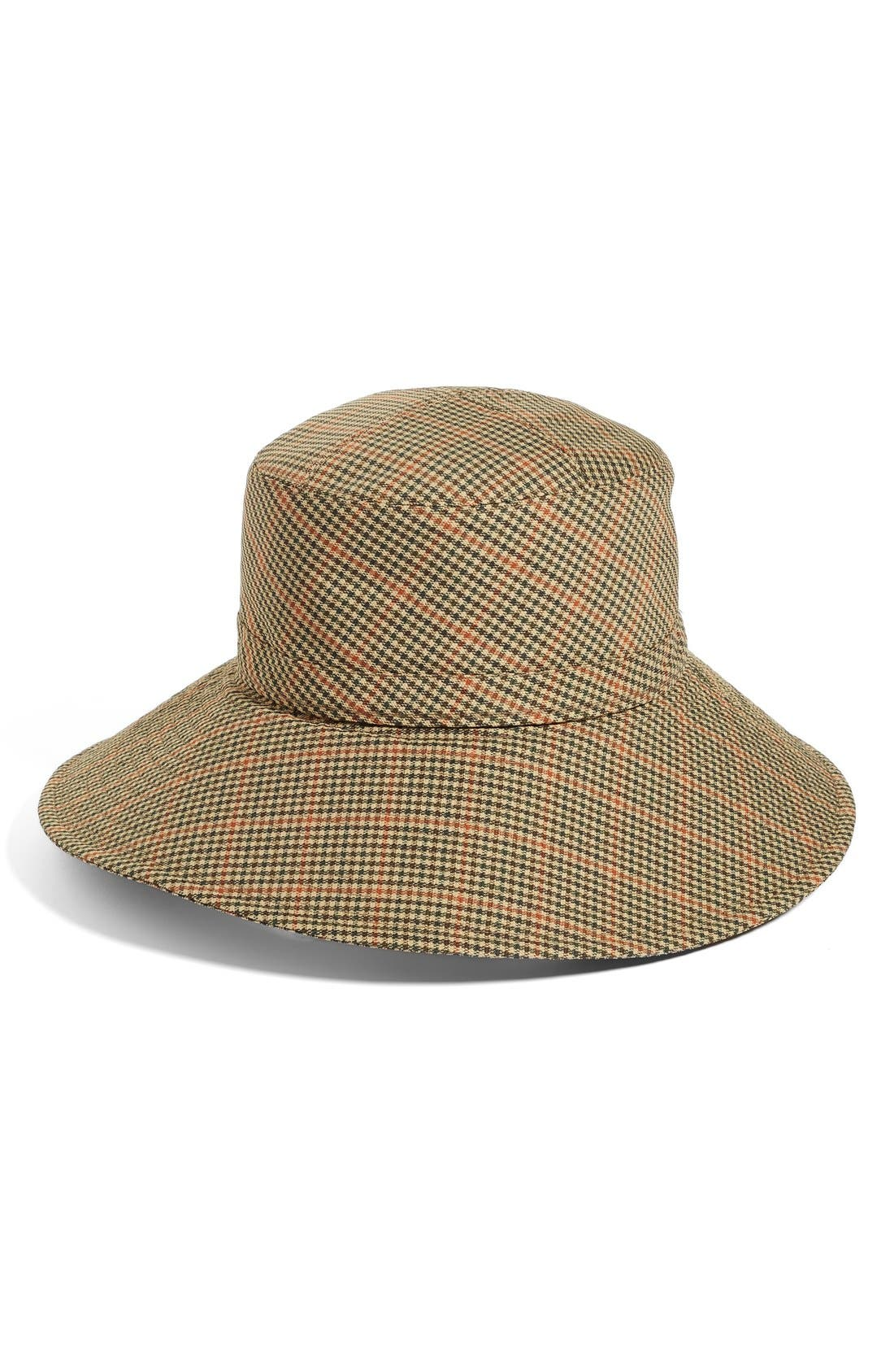 Water Repellent Nylon Rain Hat,                             Main thumbnail 1, color,                             Tan Check