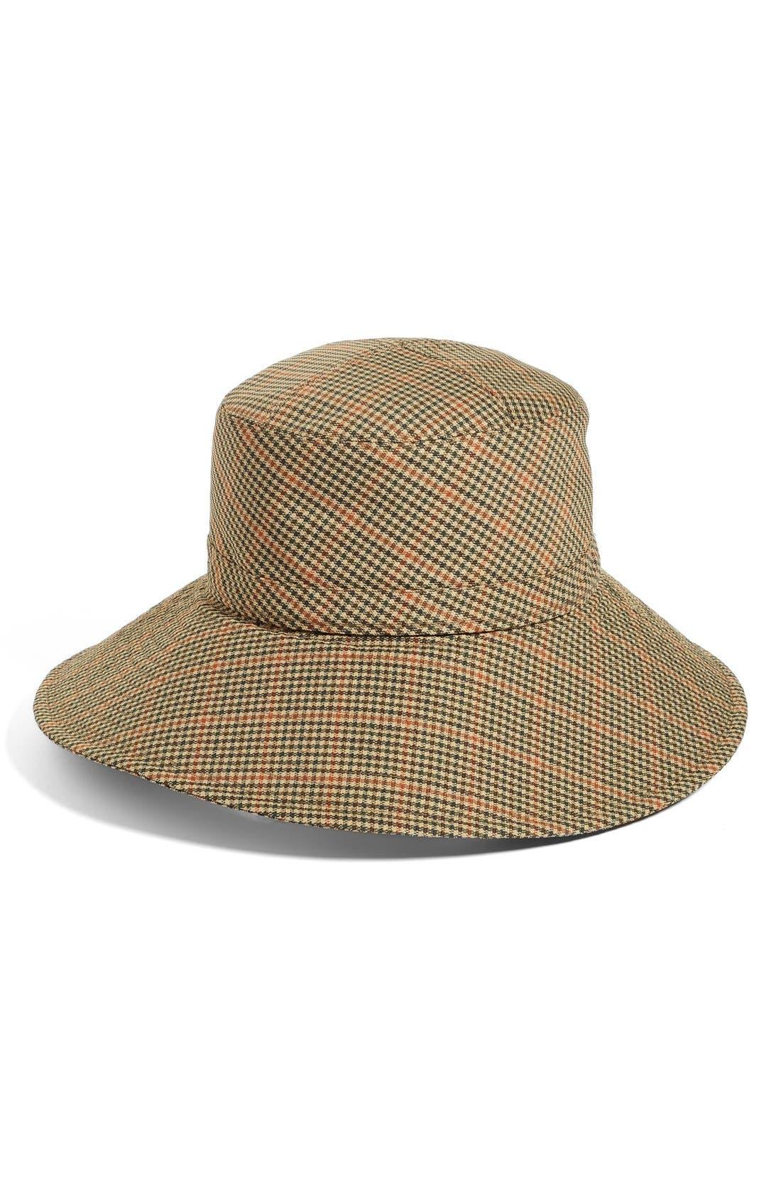 Water Repellent Nylon Rain Hat,                         Main,                         color, Tan Check