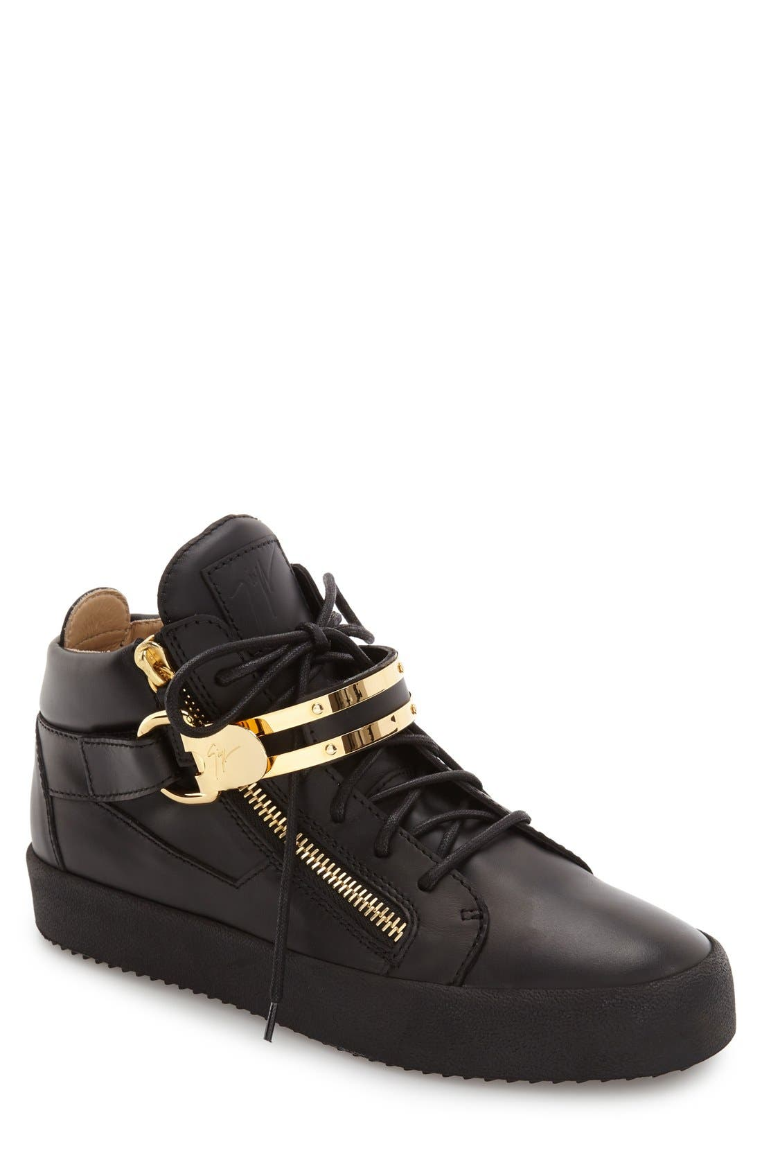 Side Zip High Top Sneaker,                         Main,                         color, Nero Leather