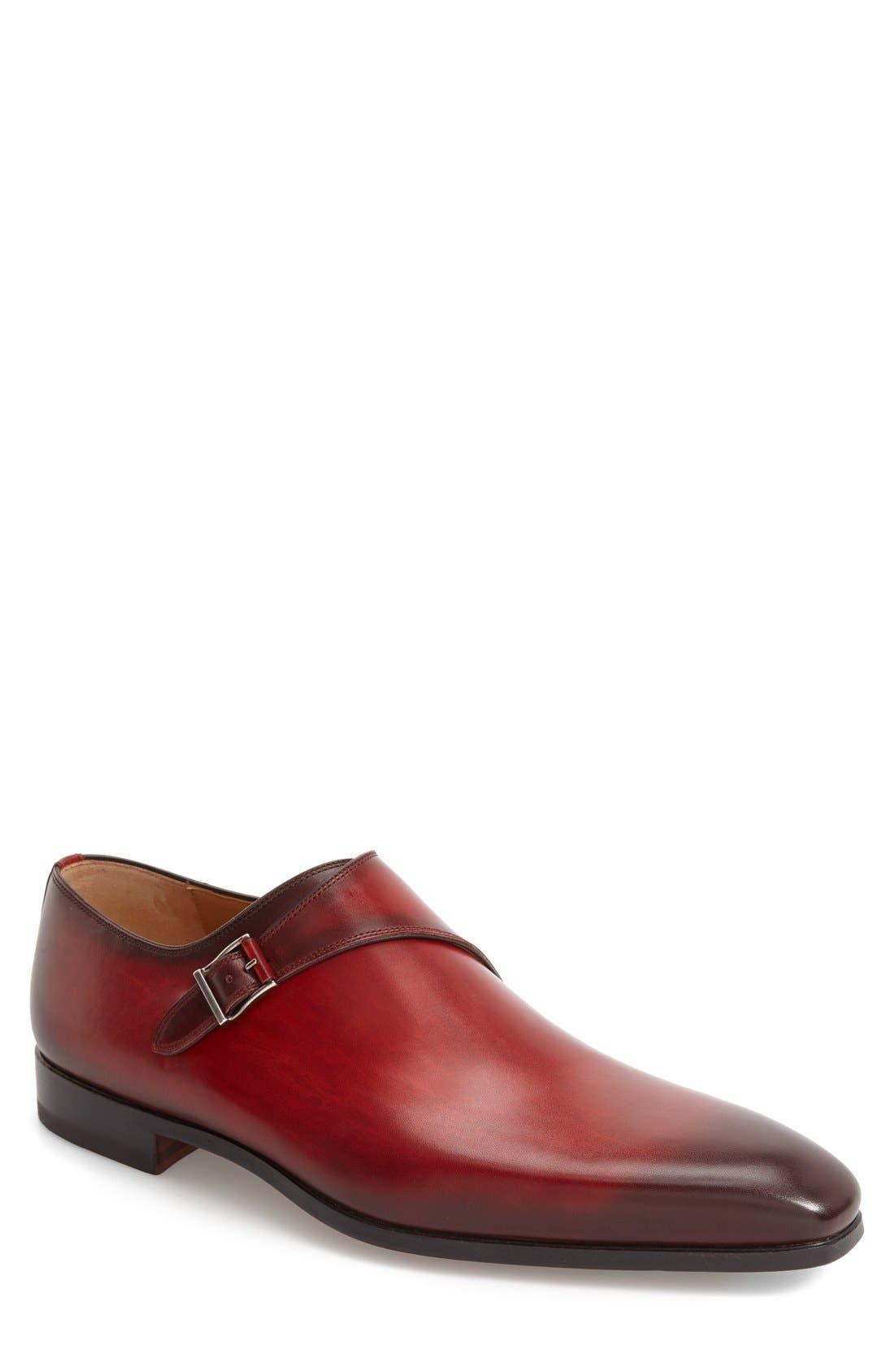 Efren Monk Strap Shoe,                             Main thumbnail 1, color,                             Red