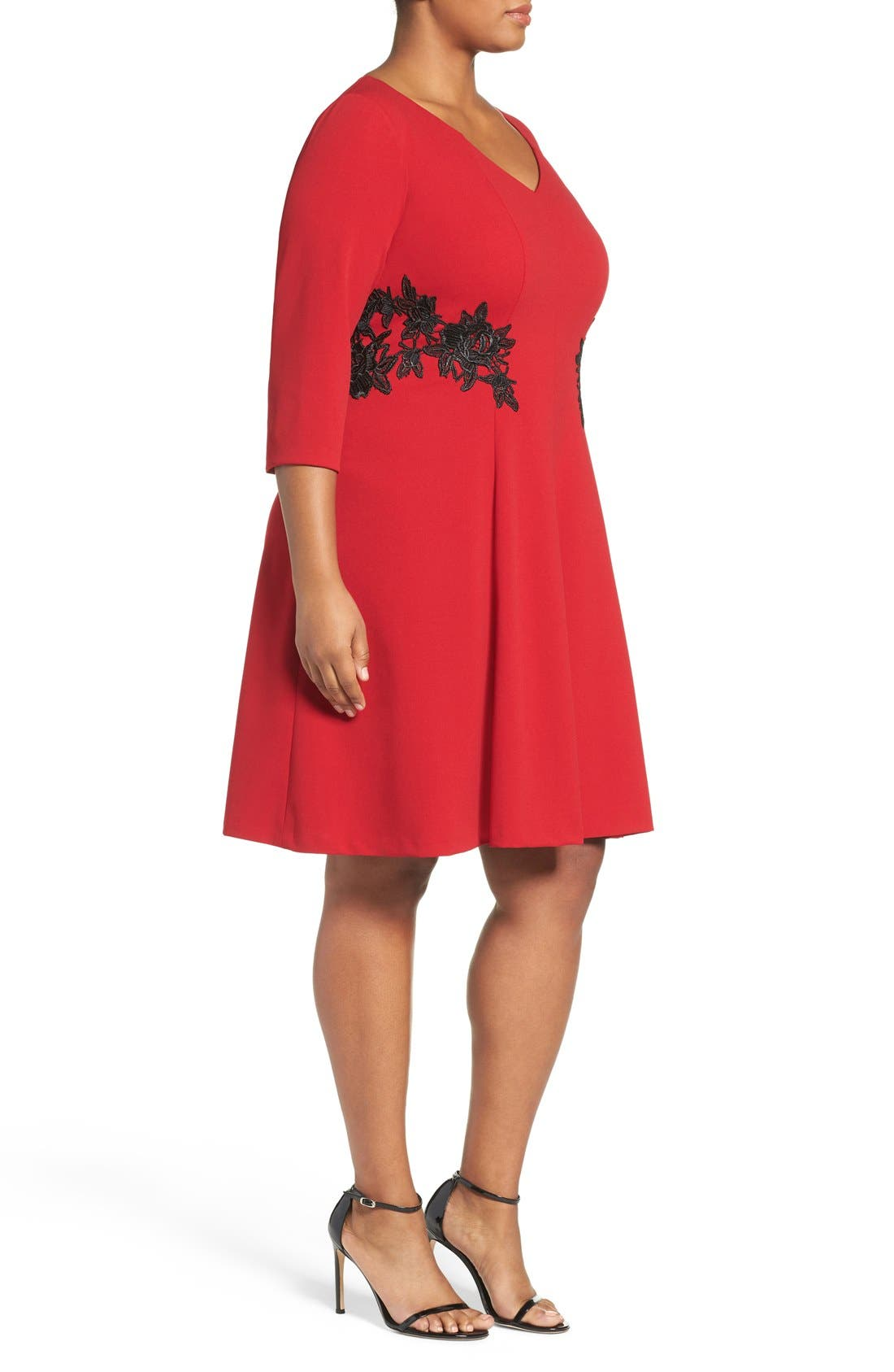 Lace Trim Fit & Flare Dress,                             Alternate thumbnail 3, color,                             Red
