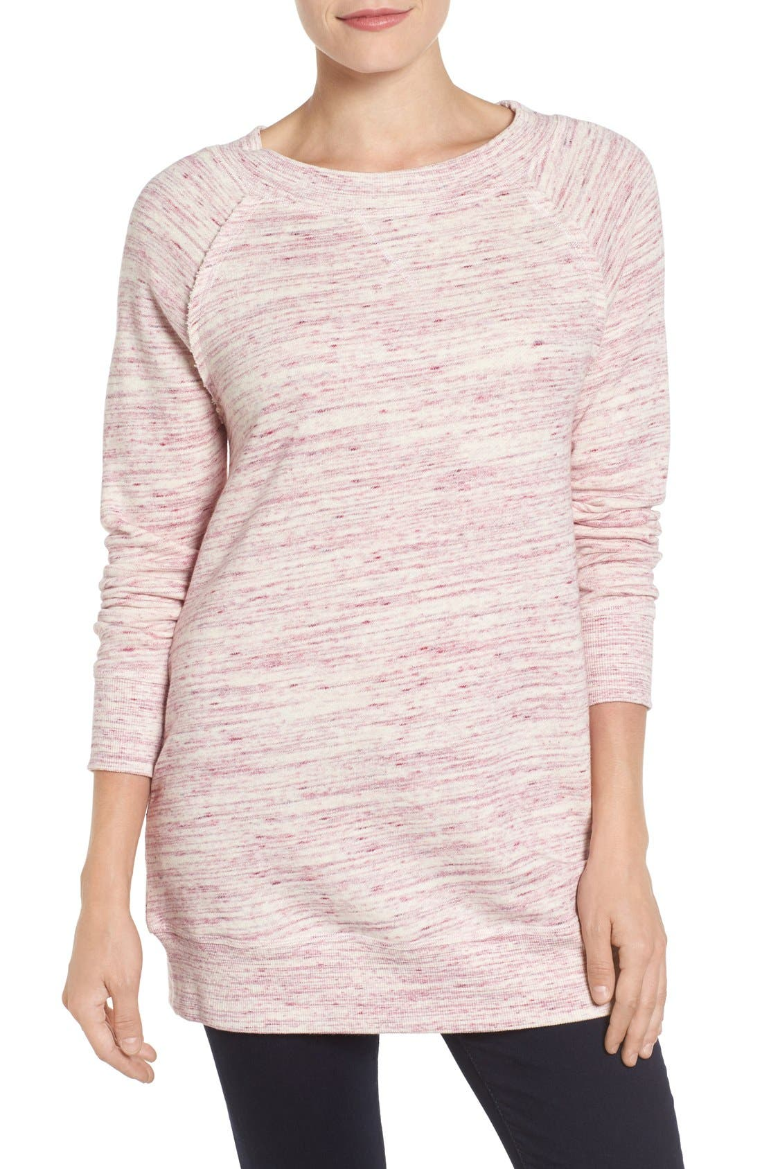 Caslon® Space Dye Tunic Sweatshirt (Regular & Petite)