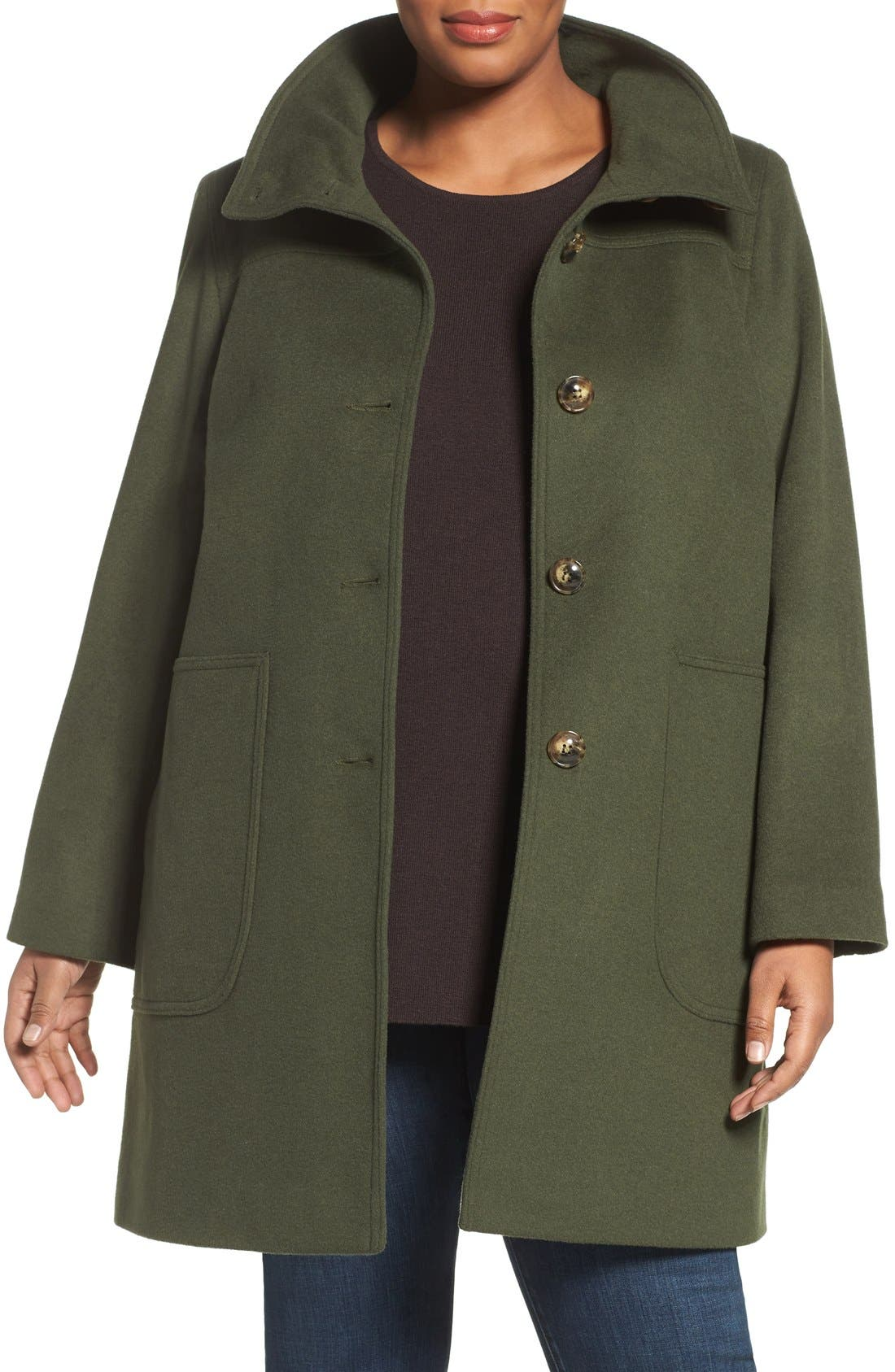 Main Image - Kristen Blake Patch Pocket Wool Blend Topcoat (Plus Size)