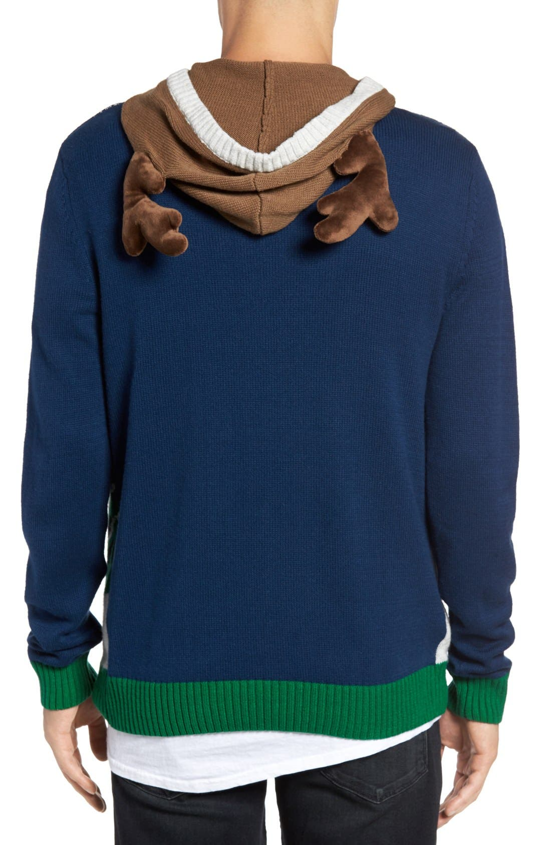 Alternate Image 2  - The Rail Reindeer Intarsia Hooded Sweater