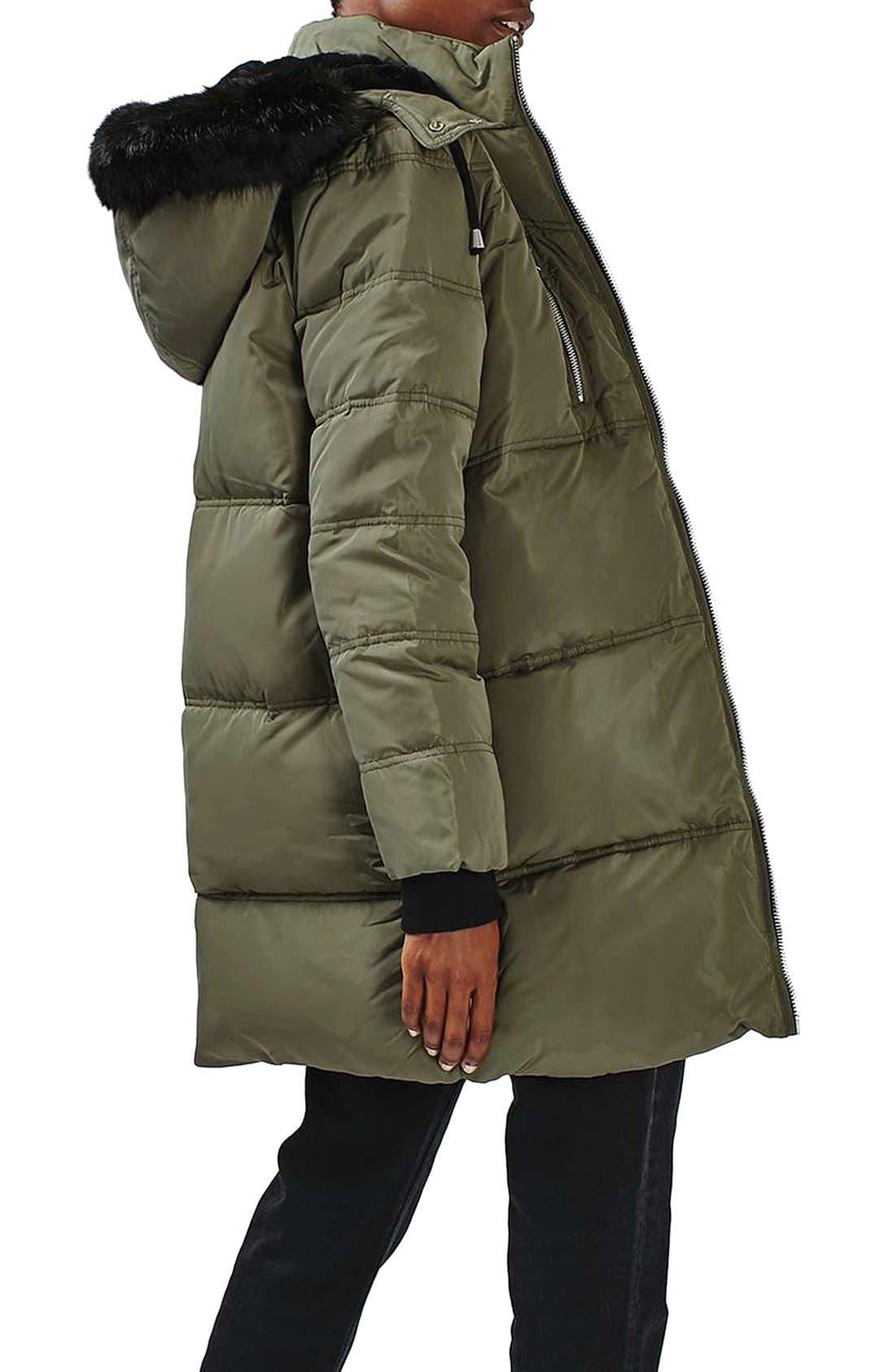 Alternate Image 3  - Topshop Jasper Faux Fur Trim Puffer Parka