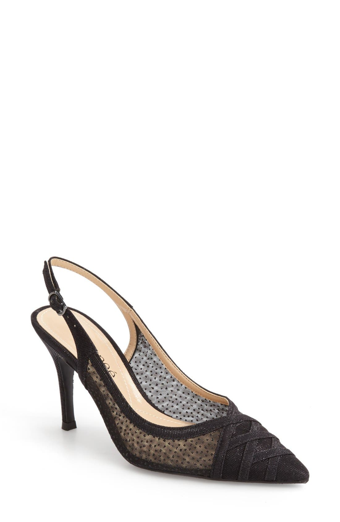 J. Renee Savina Pointed Toe Slingback Pump,                             Main thumbnail 1, color,                             Black Glitter