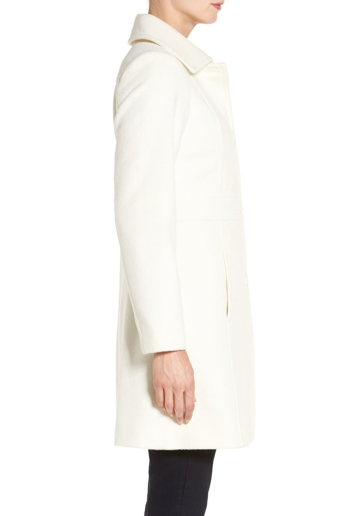 Wool Blend Walking Coat,                             Alternate thumbnail 4, color,                             Winter White
