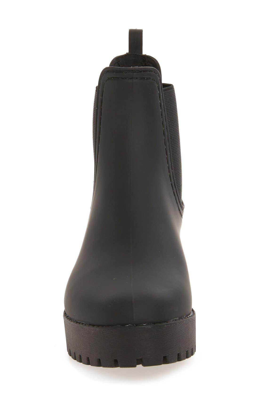Cloudy Chelsea Rain Boot,                             Alternate thumbnail 3, color,                             Black Matte Black