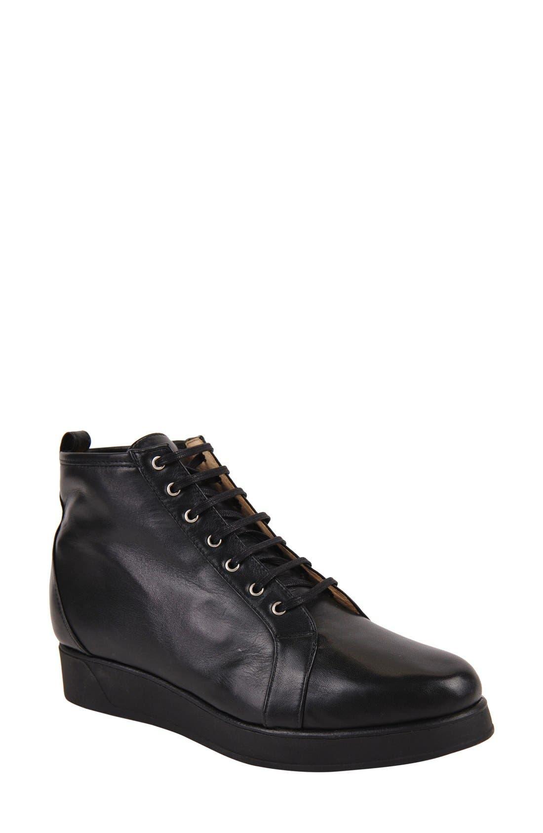 Alberta Bootie,                         Main,                         color, Black Leather