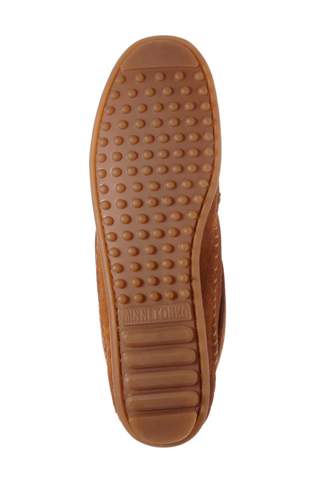Mosaic Embroidered Moccasin,                             Alternate thumbnail 4, color,                             Brown Suede