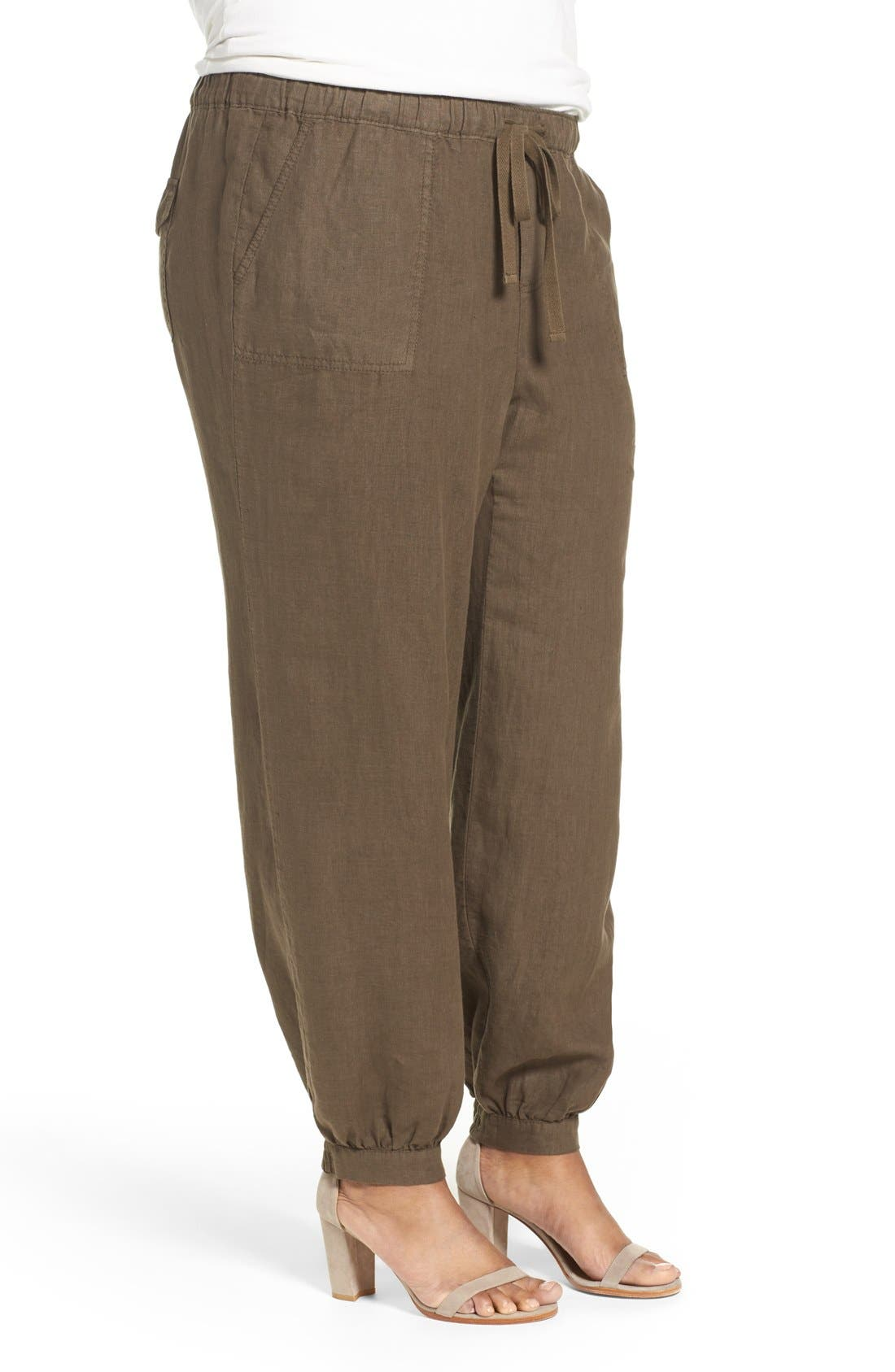 Alternate Image 3  - Caslon® Linen Jogger Pants (Plus Size)