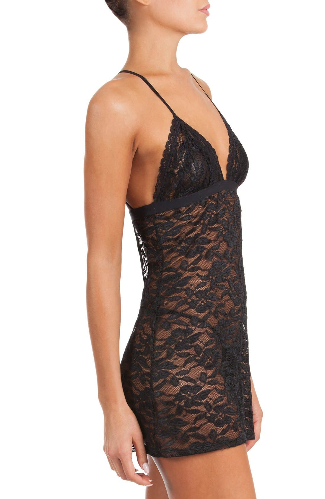 City Girl Chemise & Thong,                             Alternate thumbnail 3, color,                             Black