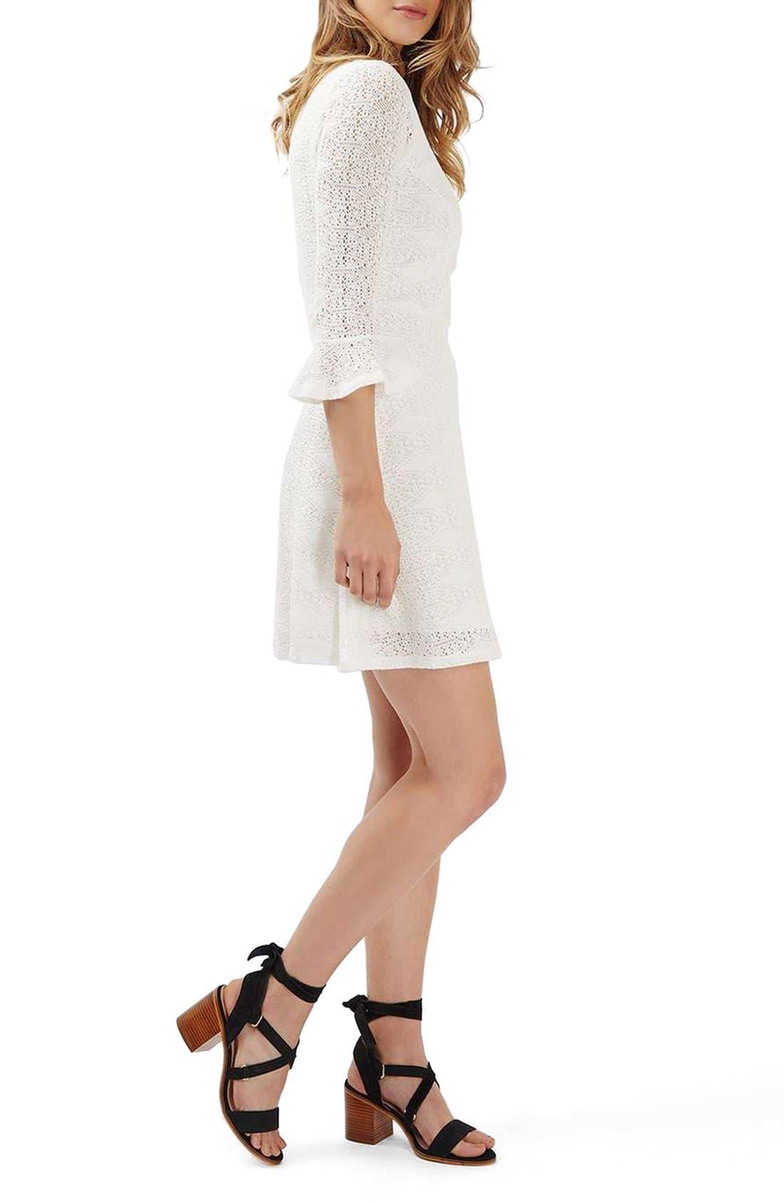 Alternate Image 2  - Topshop Flute Sleeve Crochet Dress