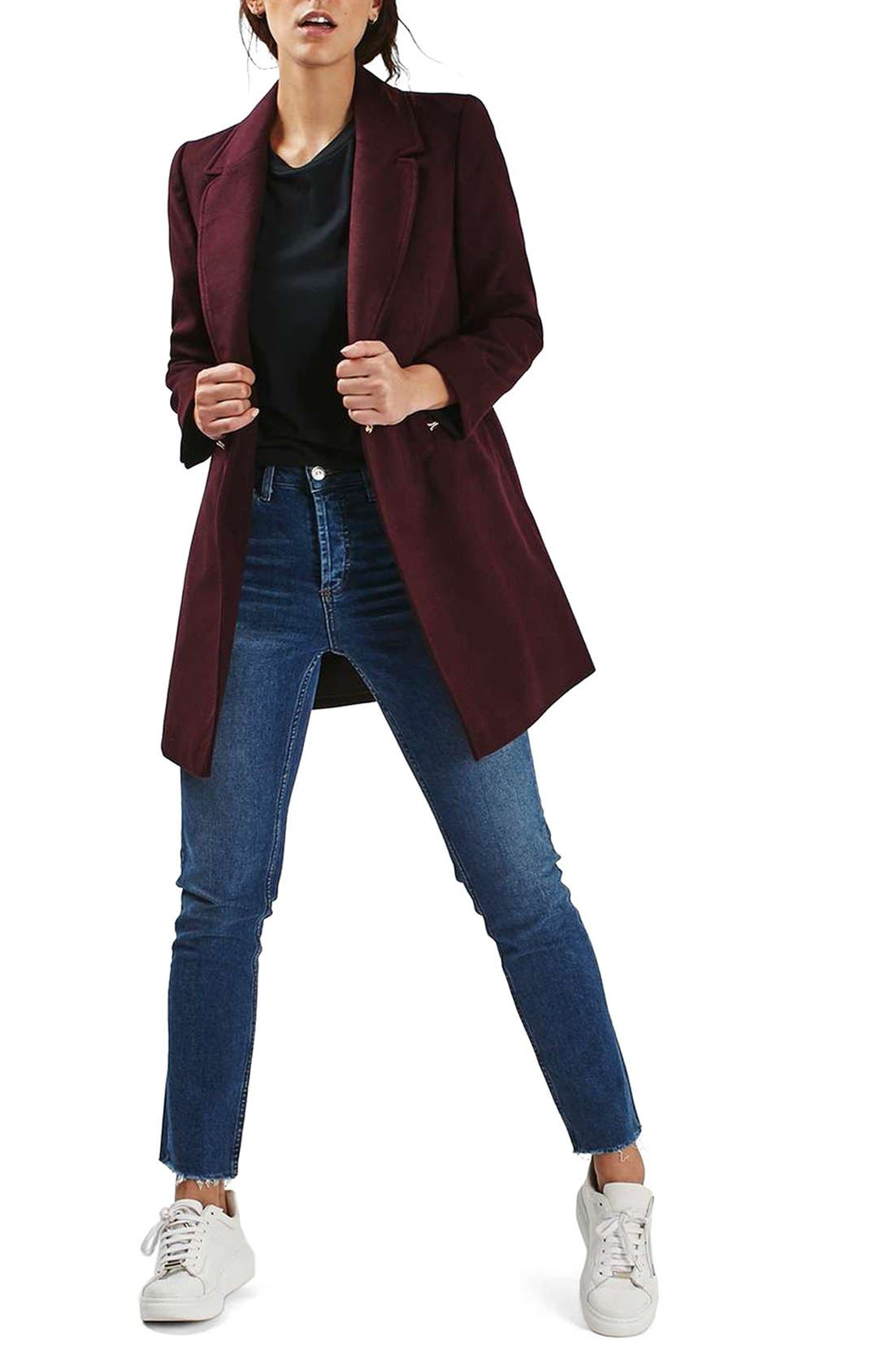 'Meg' Zip Pocket Coat,                             Alternate thumbnail 2, color,                             Burgundy