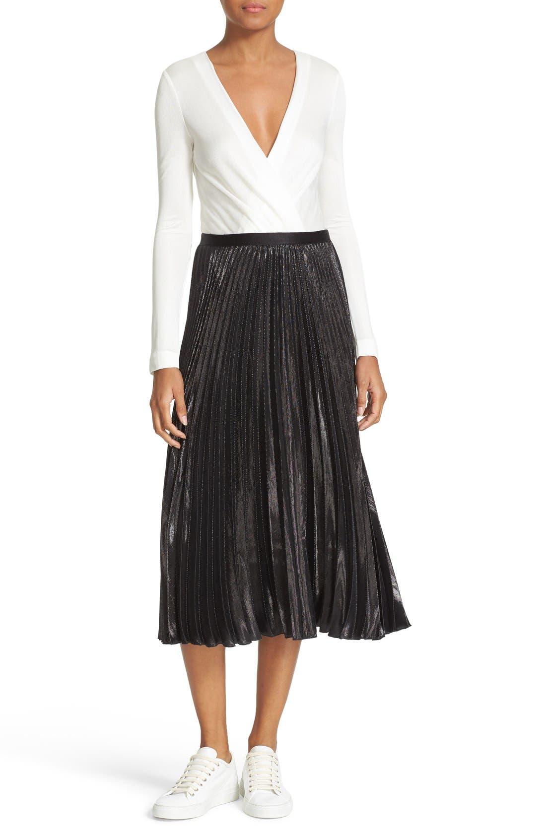Alternate Image 2  - Diane von Furstenberg Heavyn Metallic Pleated Midi Skirt
