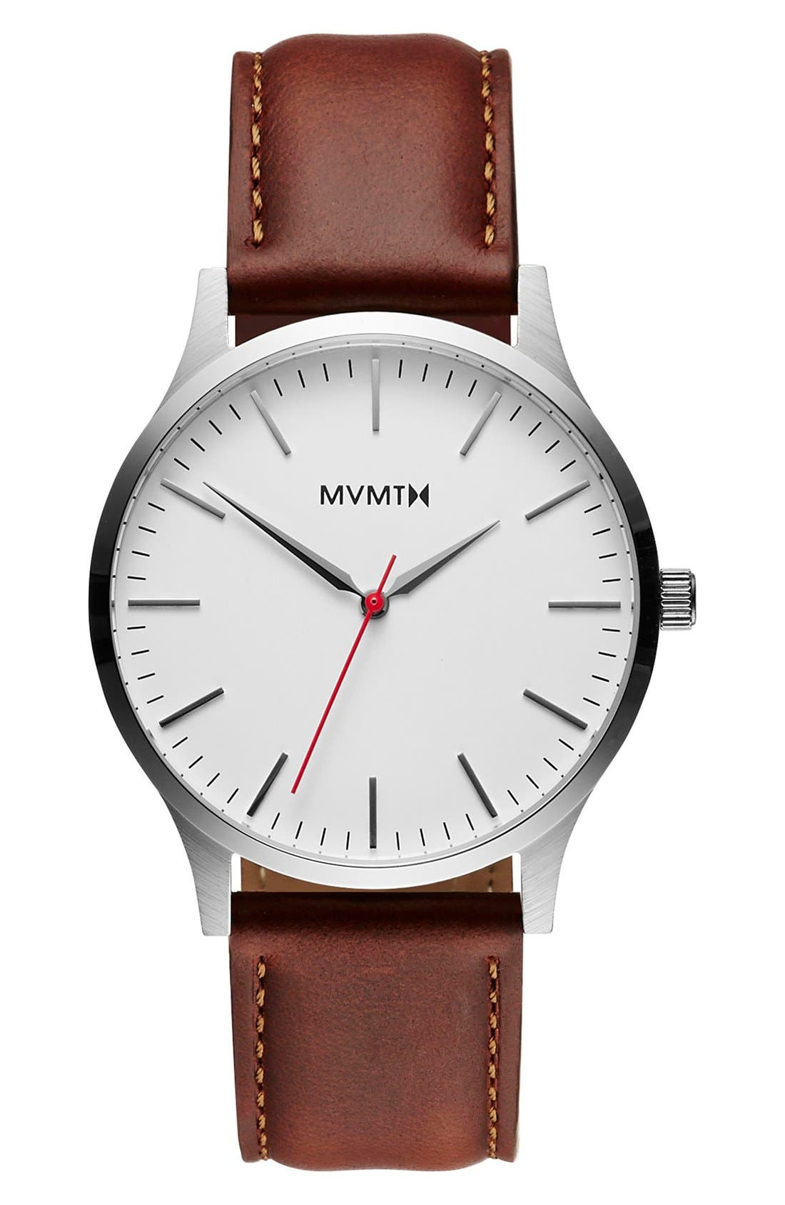 Leather Strap Watch, 40mm,                         Main,                         color, White/ Natural