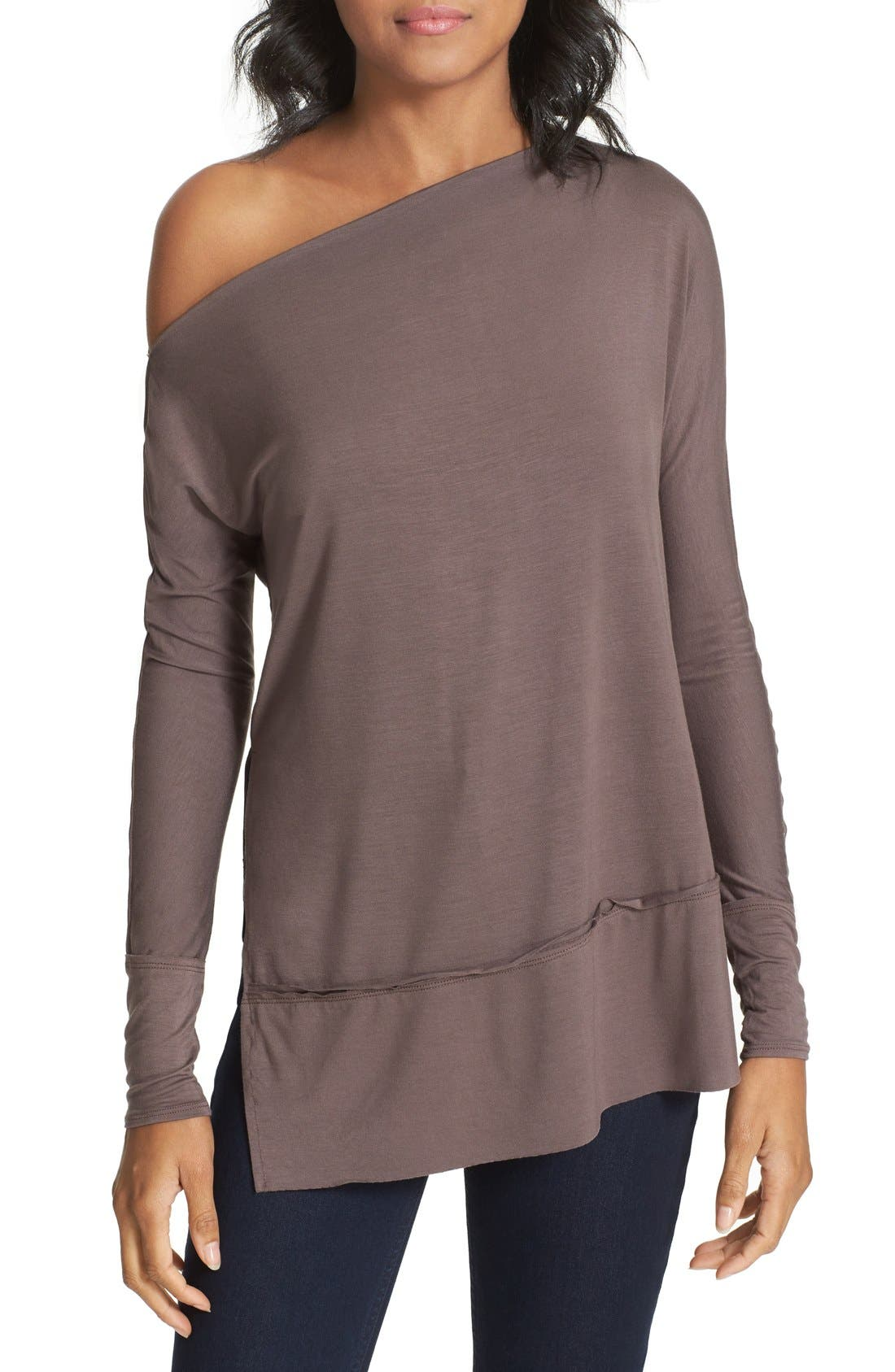 'Luna' Long Sleeve Tee,                             Main thumbnail 1, color,                             Taupe