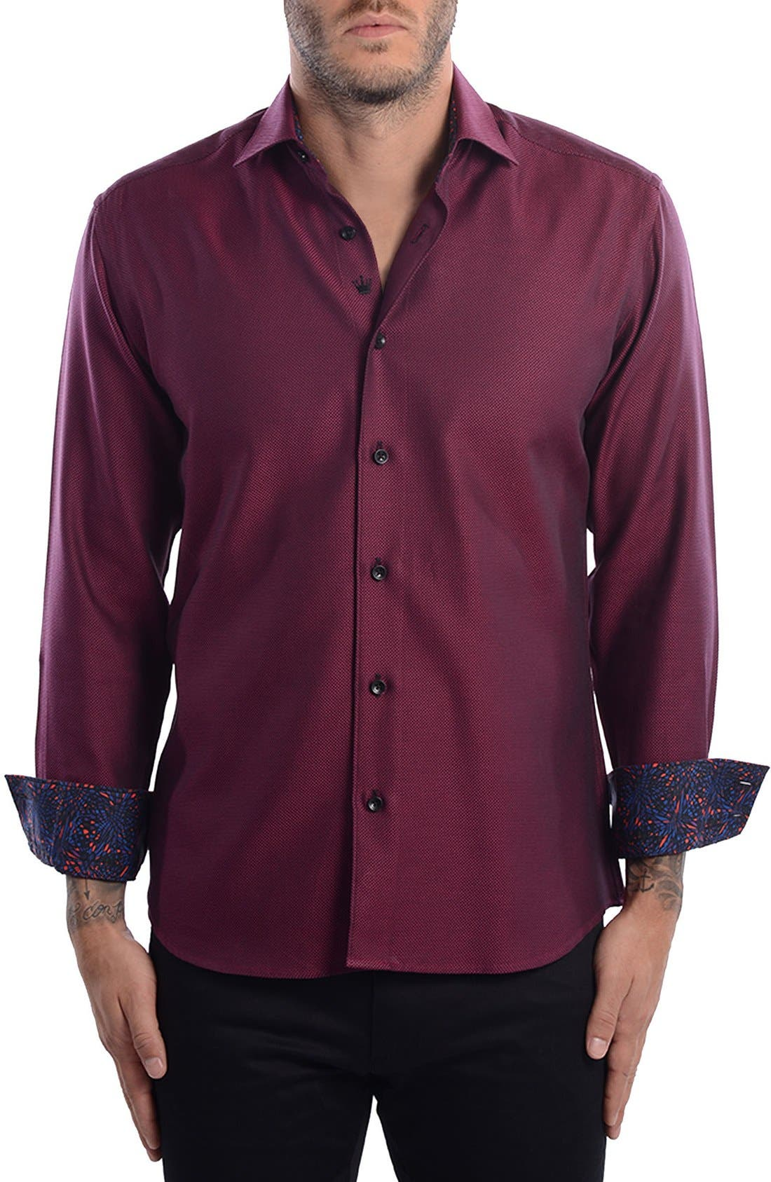 White Arrow Dobby Modern Fit Sport Shirt,                             Main thumbnail 1, color,                             Red