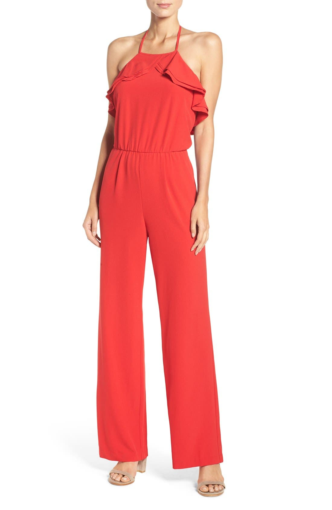 Ruffle Halter Jumpsuit,                             Main thumbnail 1, color,                             Red