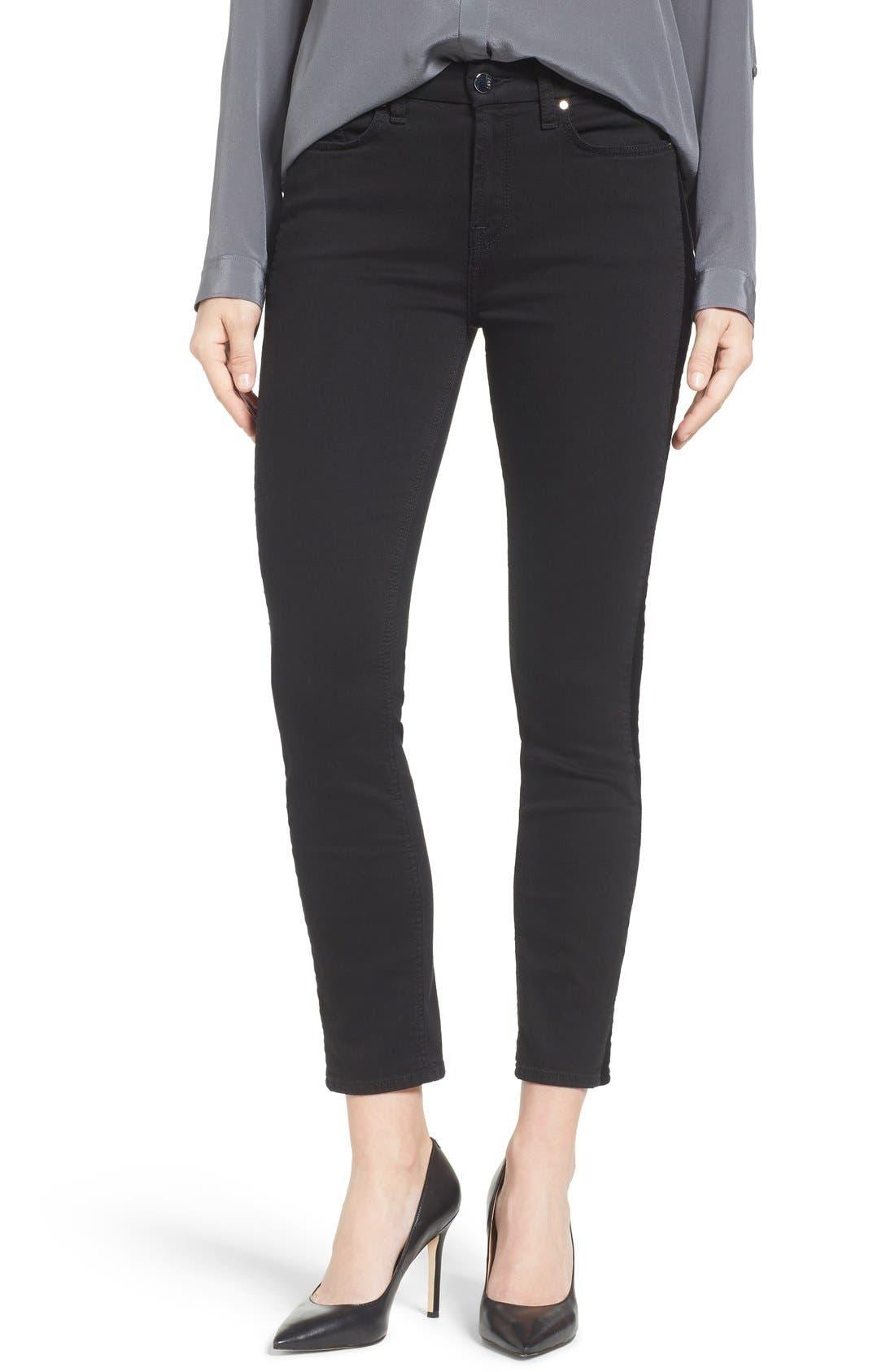 Tuxedo Stripe Skinny Jeans,                             Main thumbnail 1, color,                             Riche Touch Black Noir