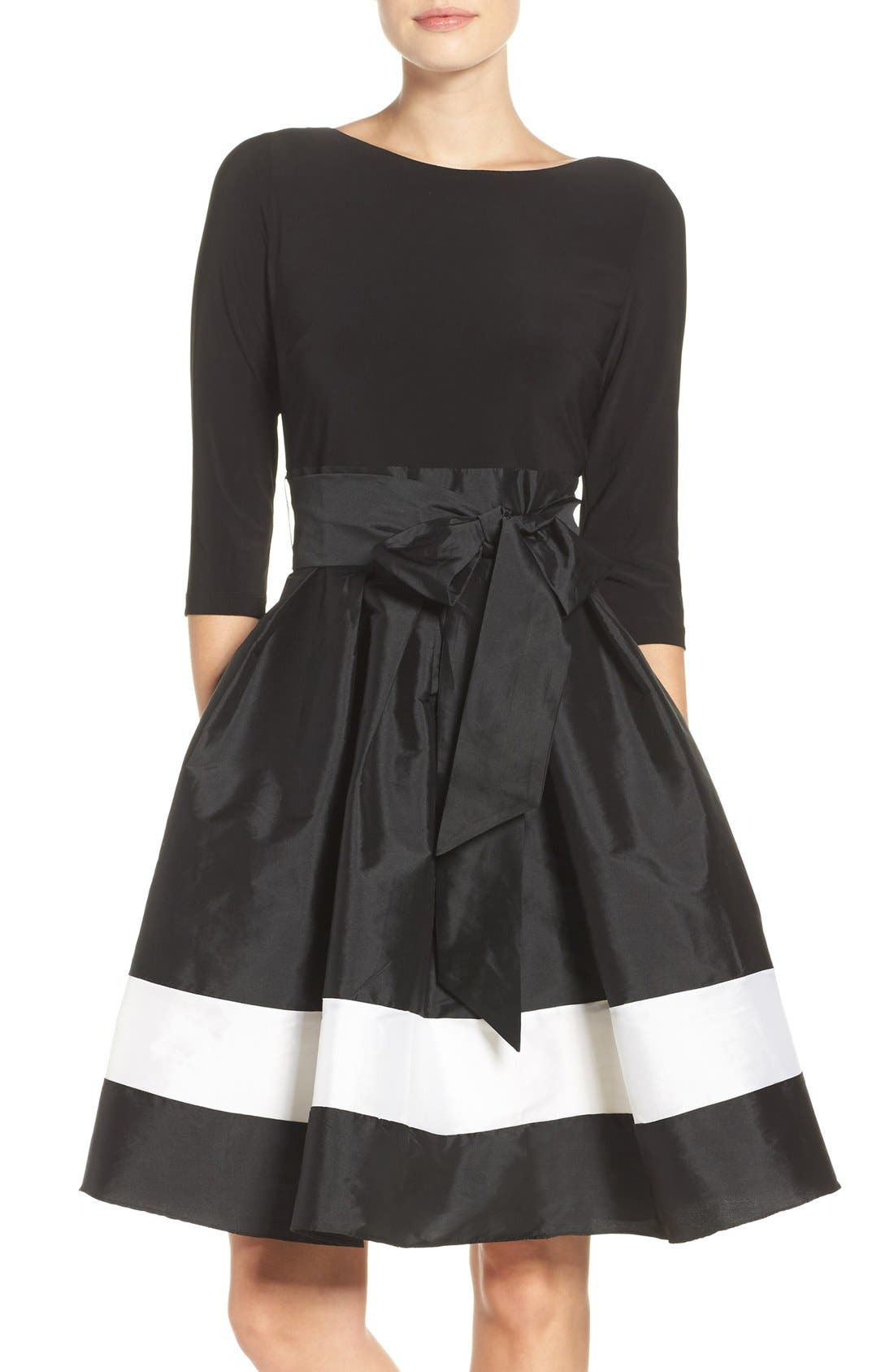 Adrianna Papell Jersey & Colorblock Taffeta Fit & Flare Dress
