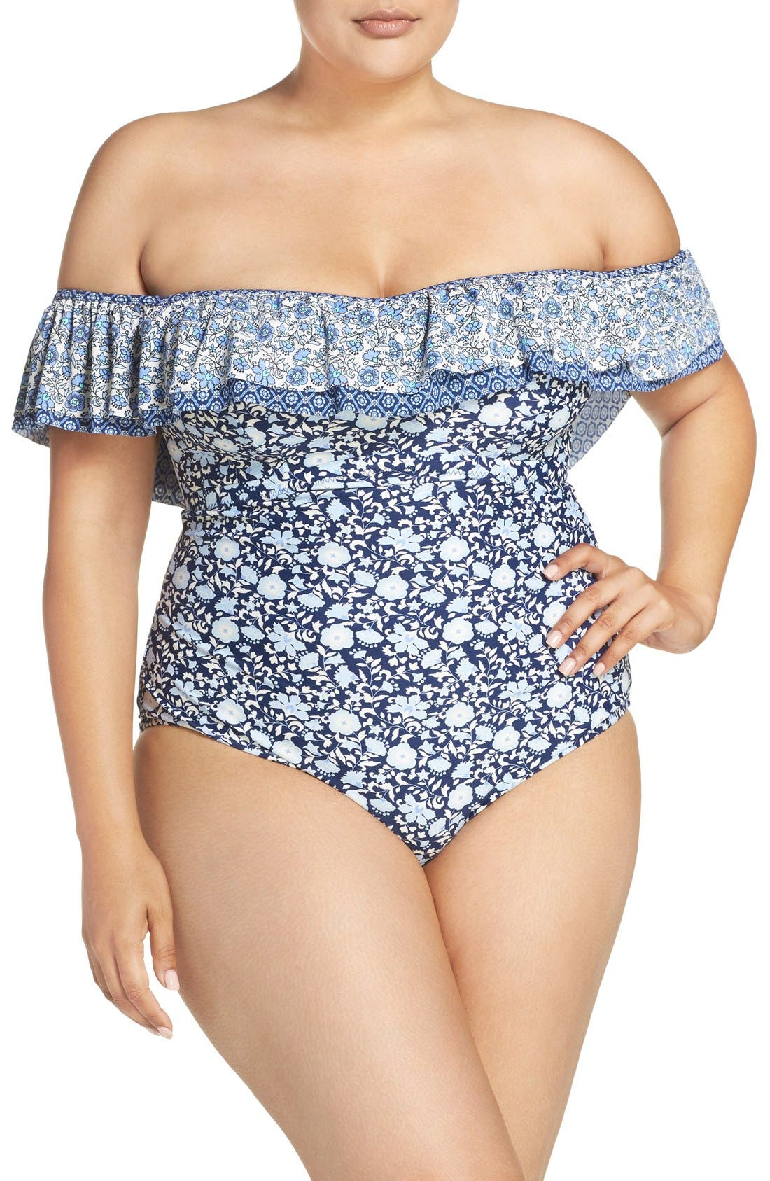 Alternate Image 1 Selected - Jessica Simpson Off the Shoulder One-Piece Swimsuit (Plus Size)