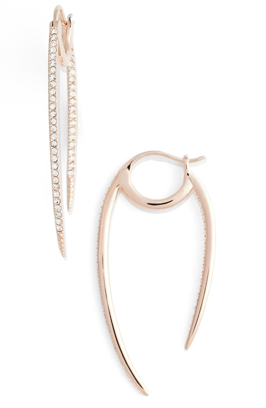 'Crescent' Linear Hoop Earrings,                         Main,                         color, Rose Gold
