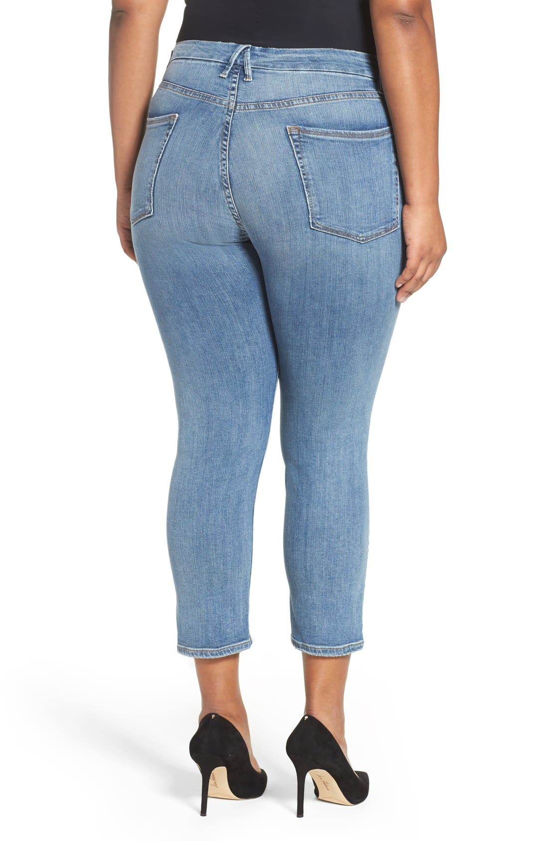 Alternate Image 8  - Good American Good Cuts High Rise Boyfriend Jeans (Blue 012) (Extended Sizes)