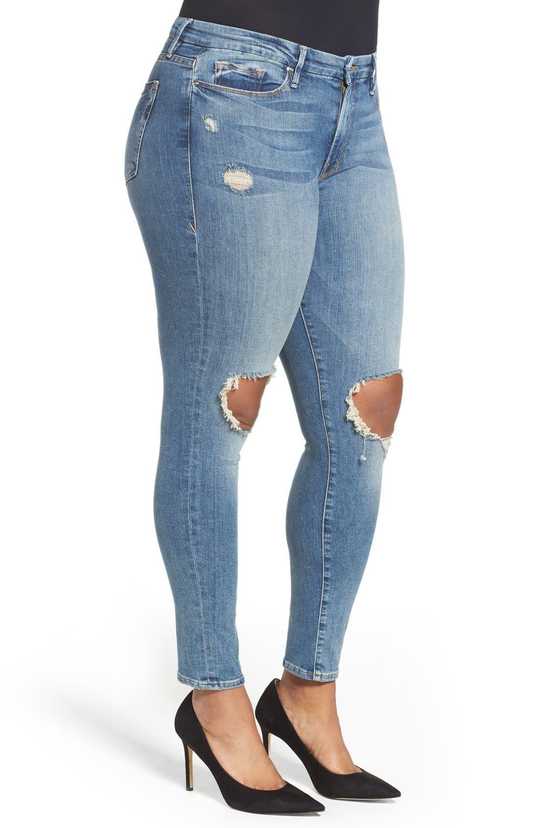 Alternate Image 7  - Good American Good Legs High Rise Ripped Skinny Jeans (Blue 006)
