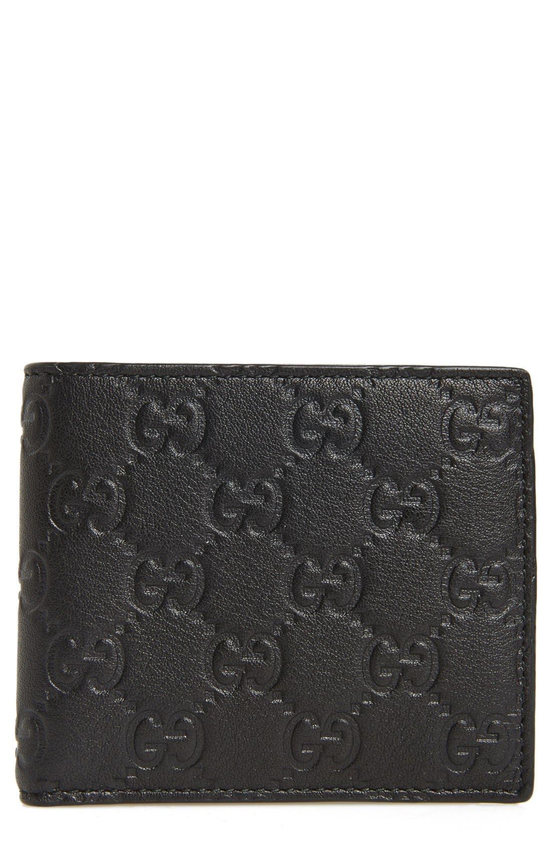 Logo Embossed Calfskin Leather Wallet,                             Main thumbnail 1, color,                             Black