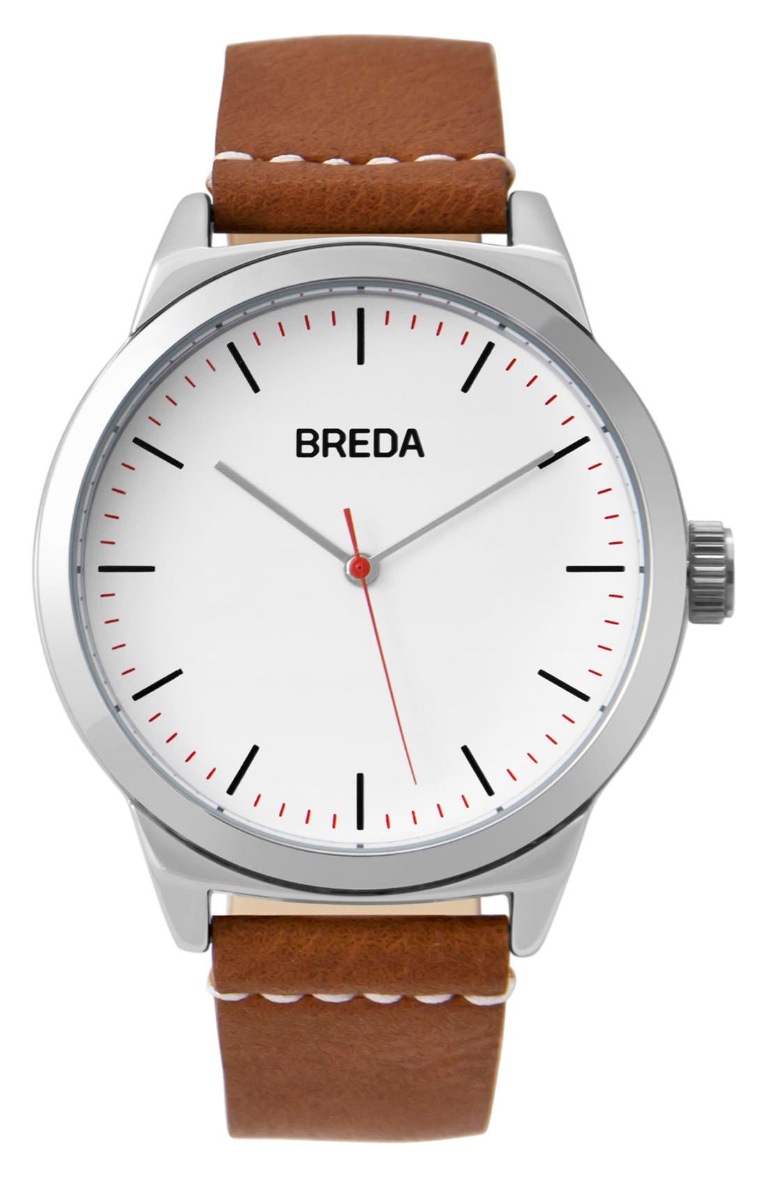 BREDA Rand Round Leather Strap Watch, 43mm
