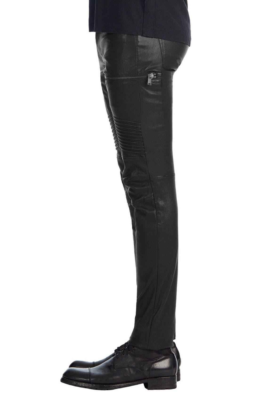Acrux Skinny Fit Moto Leather Pants,                             Alternate thumbnail 3, color,                             Black