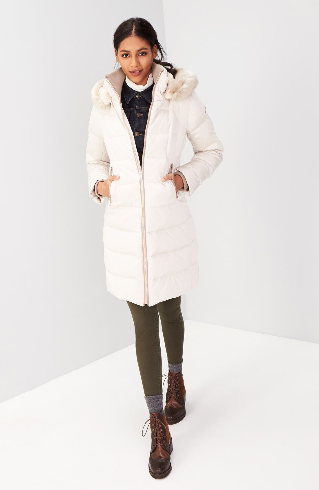 Down & Feather Fill Coat with Faux Fur Trim Hood,                             Alternate thumbnail 2, color,                             Stone