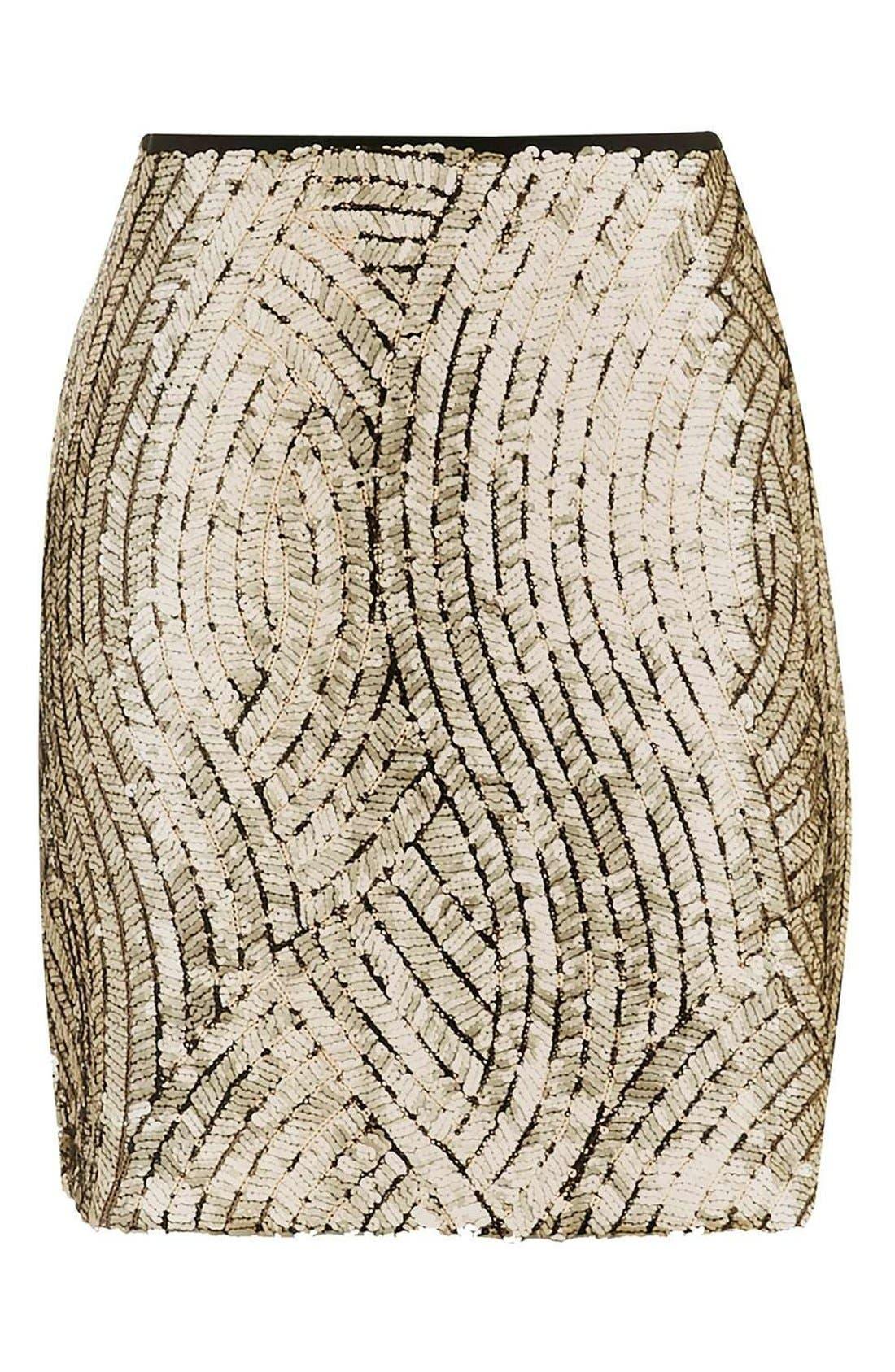 Alternate Image 4  - Topshop Psych Sequin Miniskirt