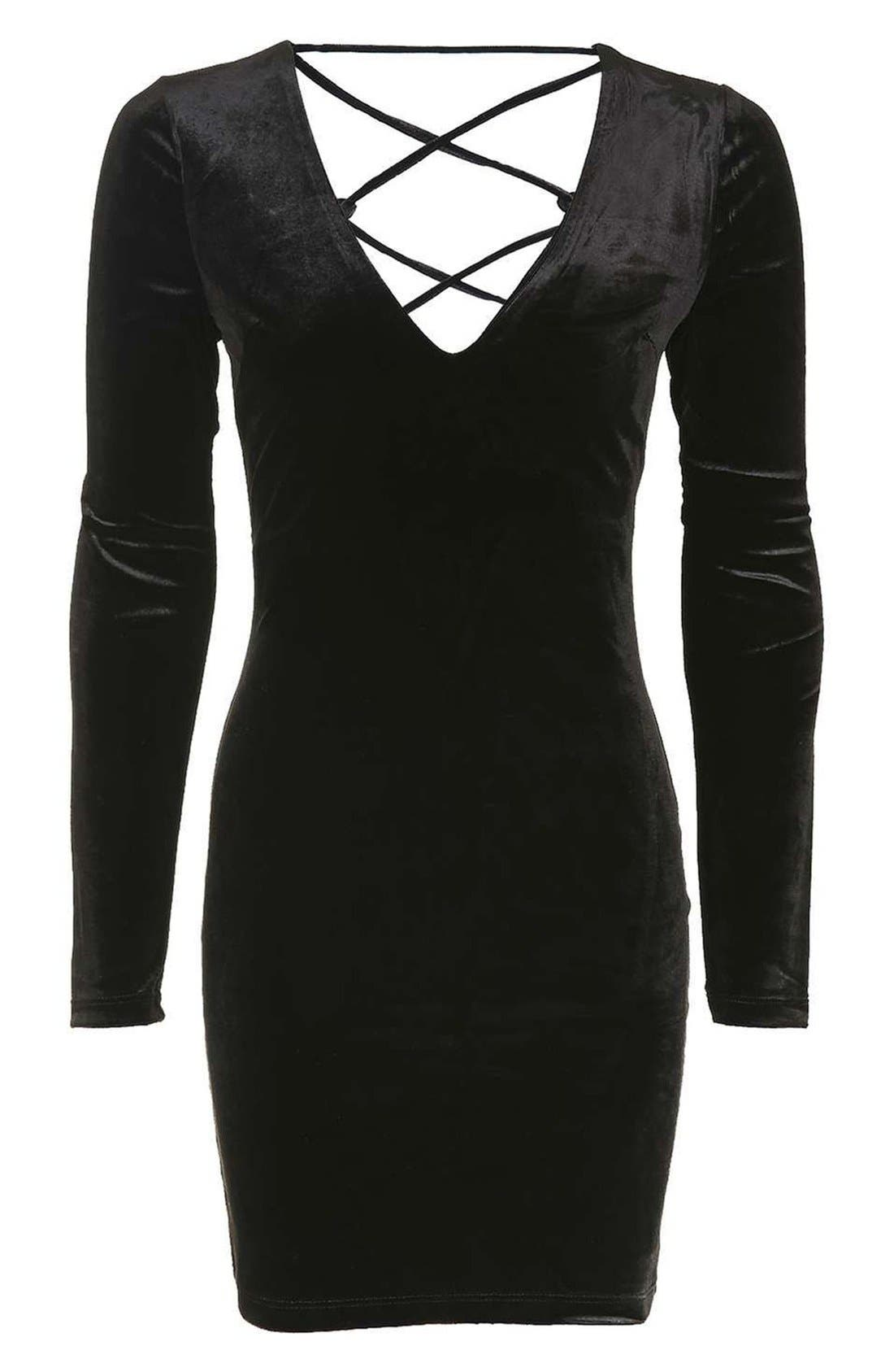 Alternate Image 4  - Topshop Lace-Up Velvet Body-Con Dress